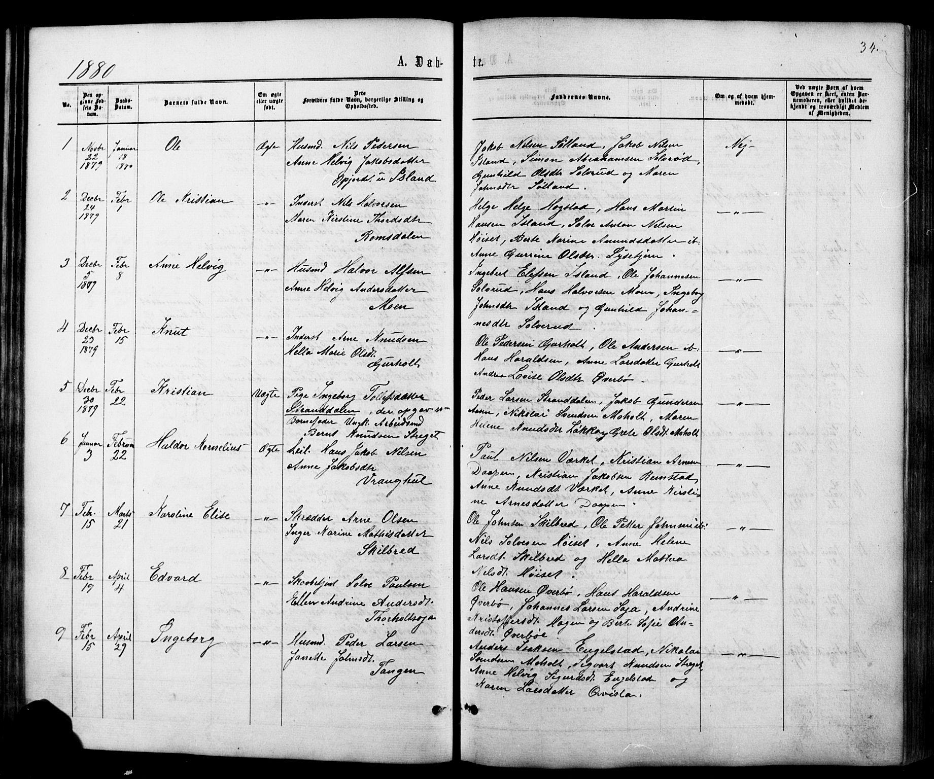 SAKO, Siljan kirkebøker, G/Ga/L0002: Klokkerbok nr. 2, 1864-1908, s. 34