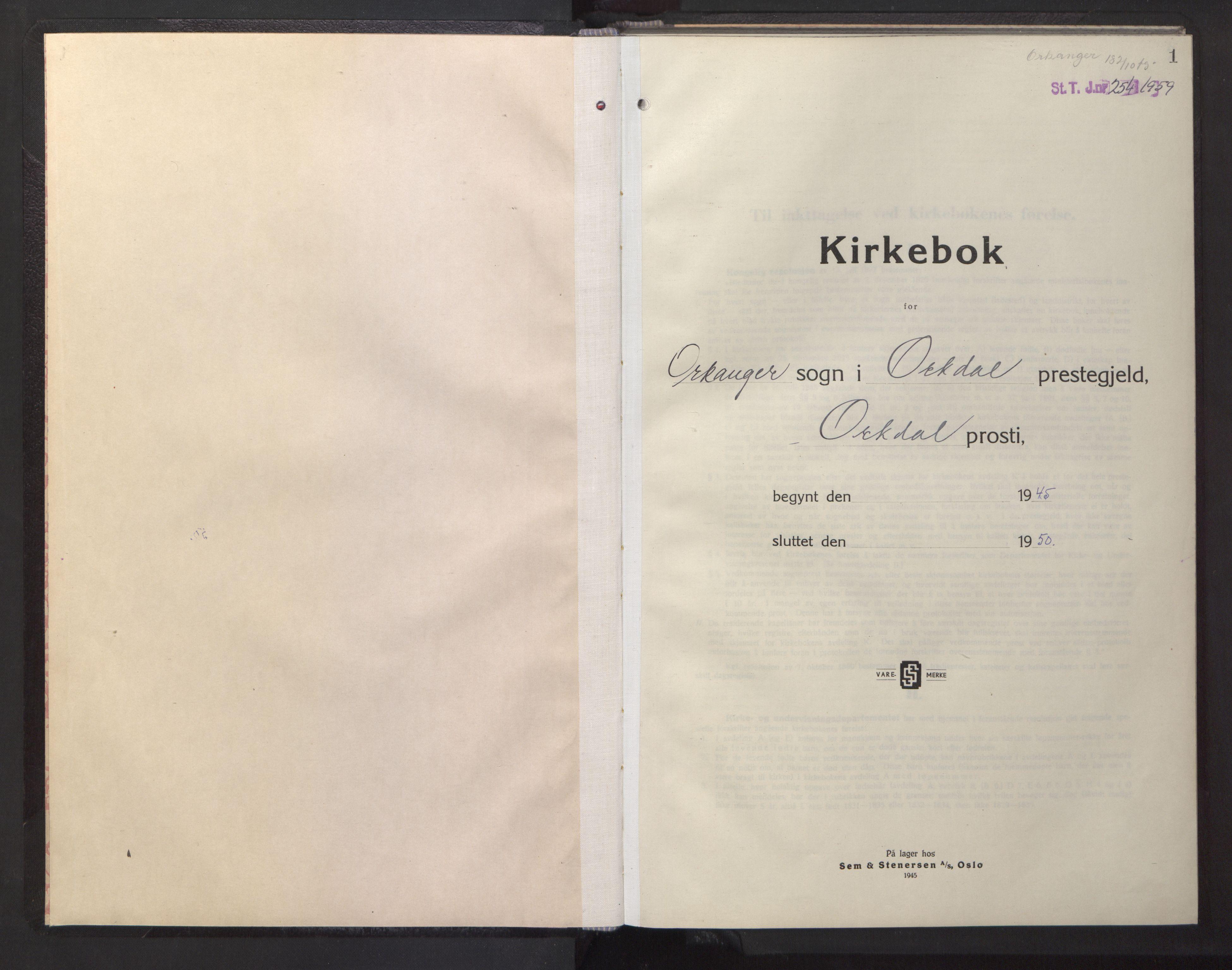 SAT, Ministerialprotokoller, klokkerbøker og fødselsregistre - Sør-Trøndelag, 669/L0833: Klokkerbok nr. 669C03, 1945-1950, s. 1