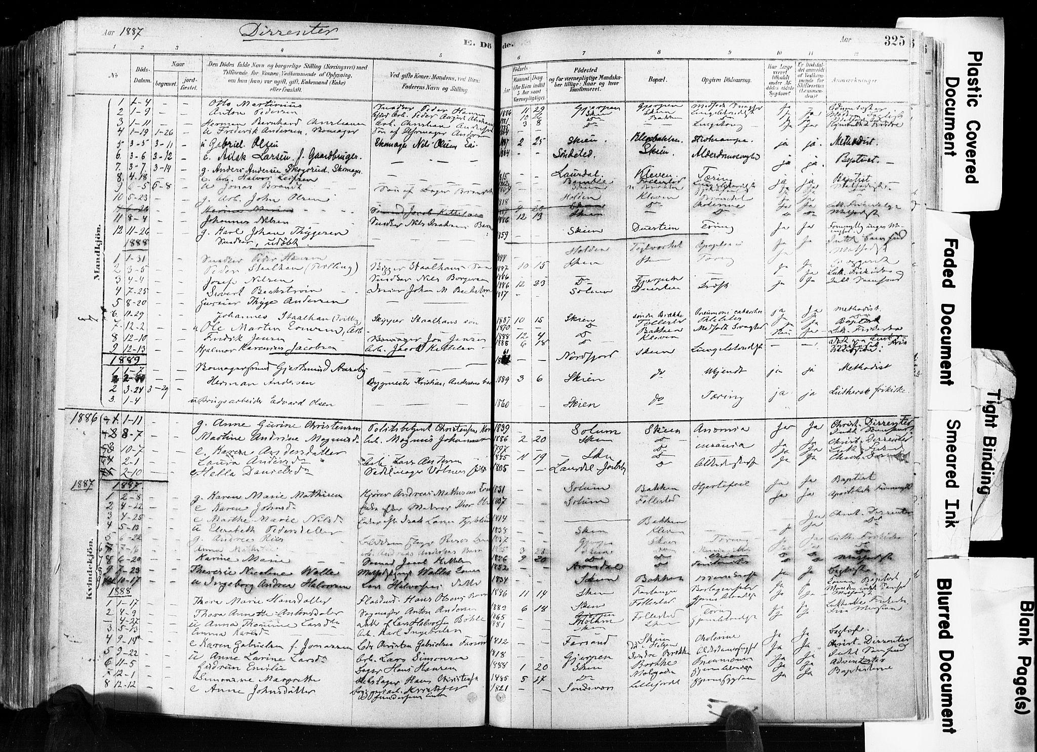 SAKO, Skien kirkebøker, F/Fa/L0009: Ministerialbok nr. 9, 1878-1890, s. 325