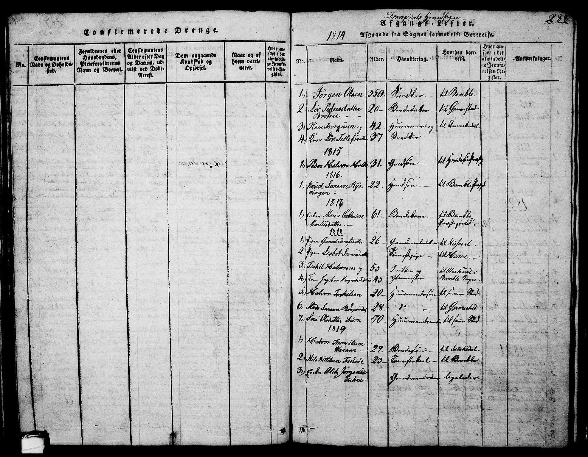 SAKO, Drangedal kirkebøker, G/Ga/L0001: Klokkerbok nr. I 1 /1, 1814-1856, s. 288