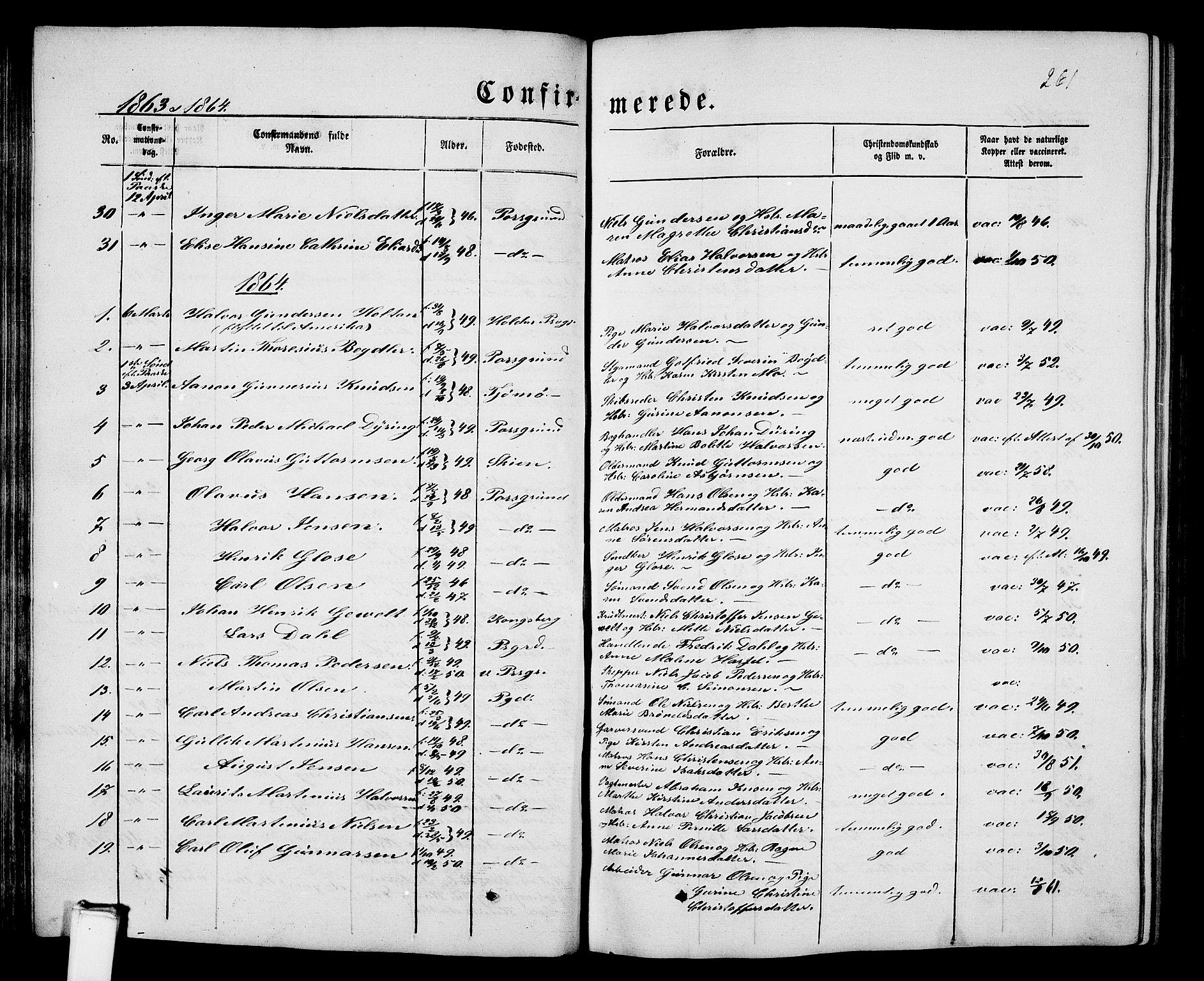 SAKO, Porsgrunn kirkebøker , G/Gb/L0004: Klokkerbok nr. II 4, 1853-1882, s. 261