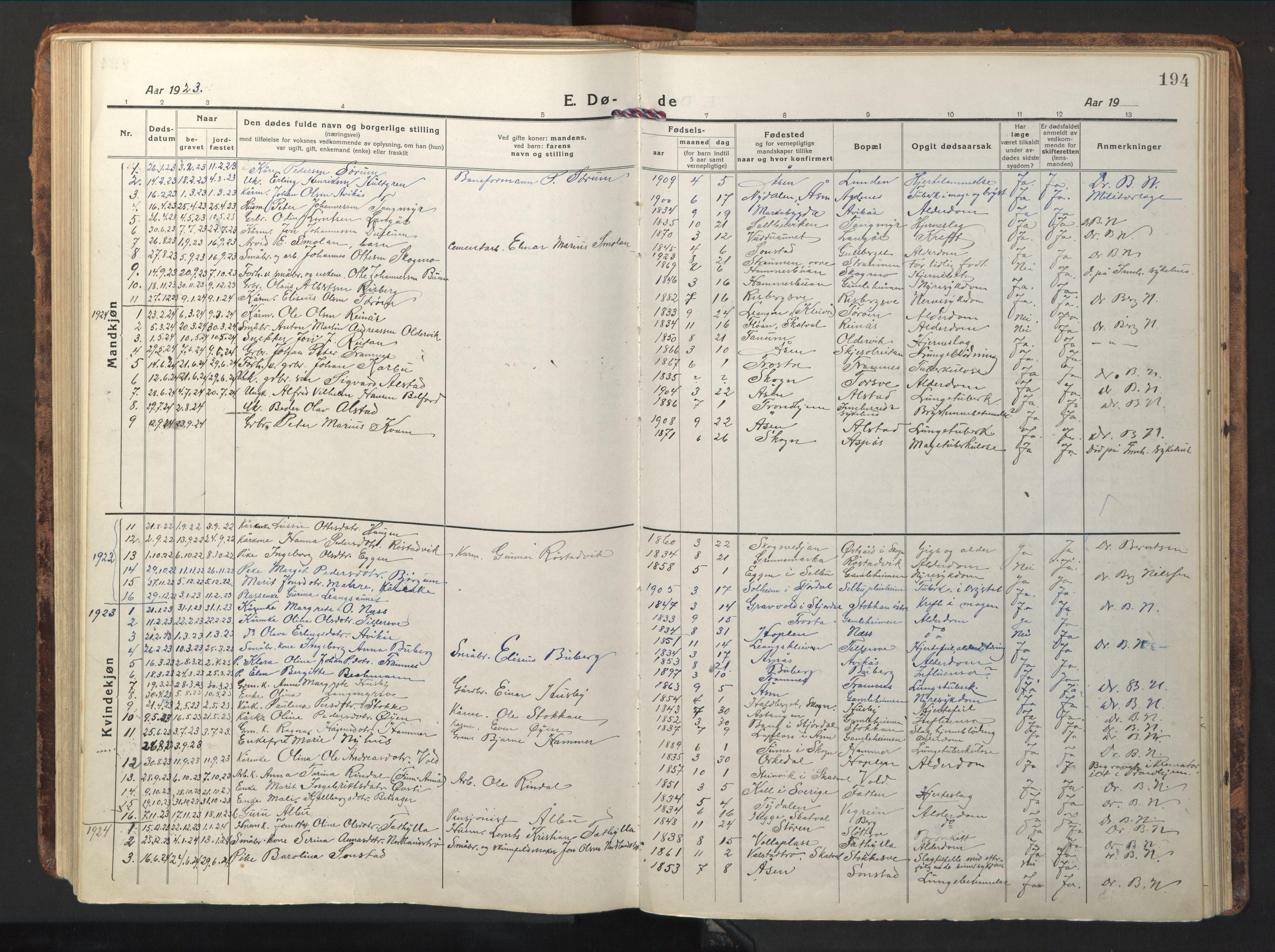 SAT, Ministerialprotokoller, klokkerbøker og fødselsregistre - Nord-Trøndelag, 714/L0136: Klokkerbok nr. 714C05, 1918-1957, s. 194