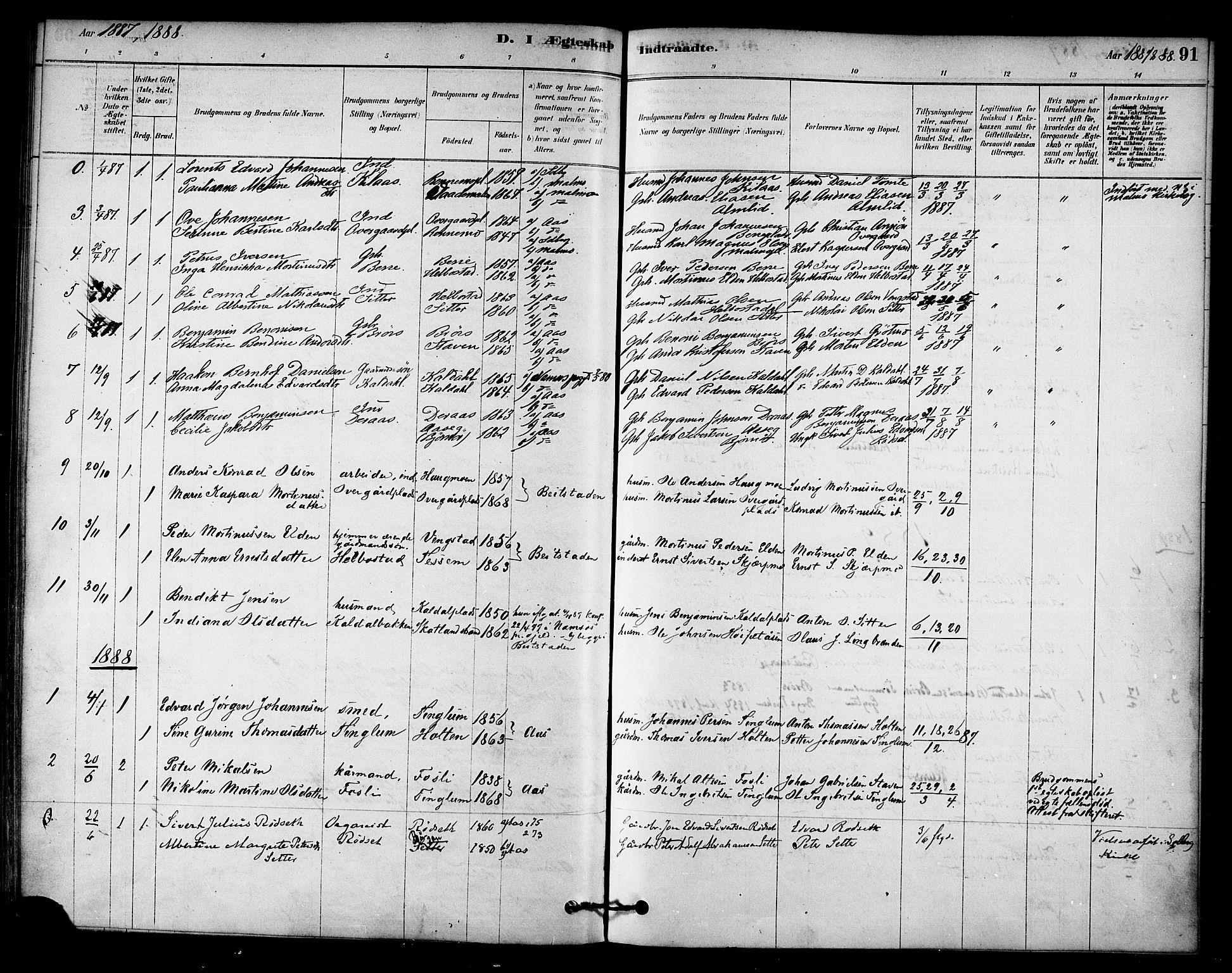 SAT, Ministerialprotokoller, klokkerbøker og fødselsregistre - Nord-Trøndelag, 742/L0408: Ministerialbok nr. 742A01, 1878-1890, s. 91