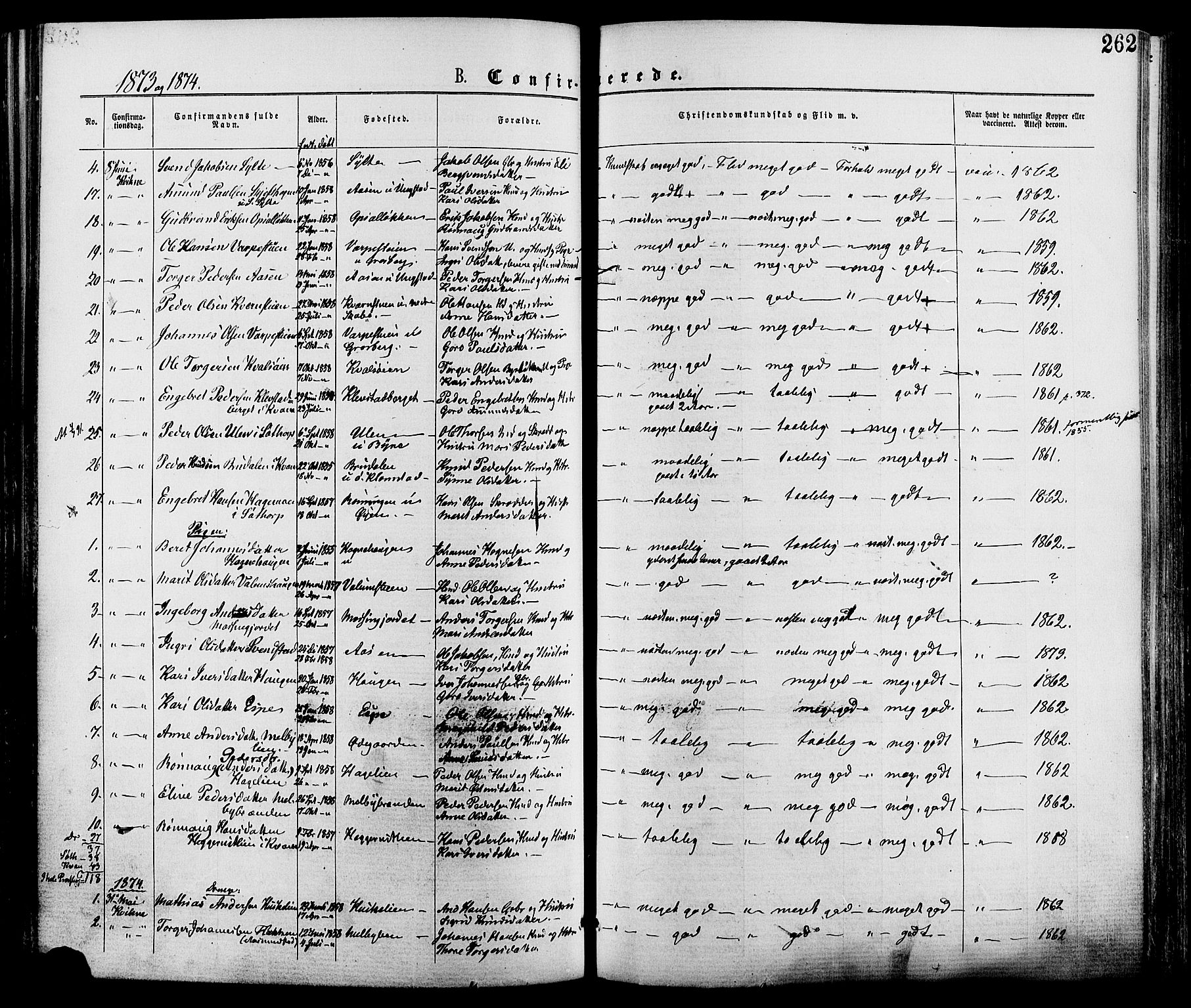 SAH, Nord-Fron prestekontor, Ministerialbok nr. 2, 1865-1883, s. 262