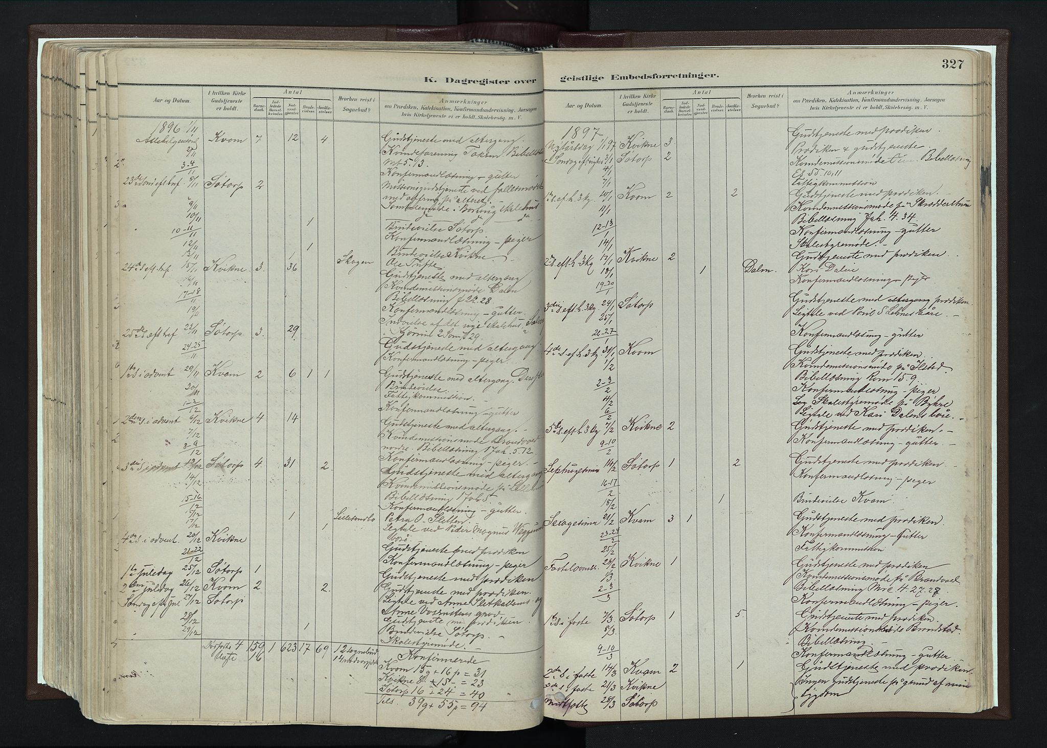 SAH, Nord-Fron prestekontor, Ministerialbok nr. 4, 1884-1914, s. 327