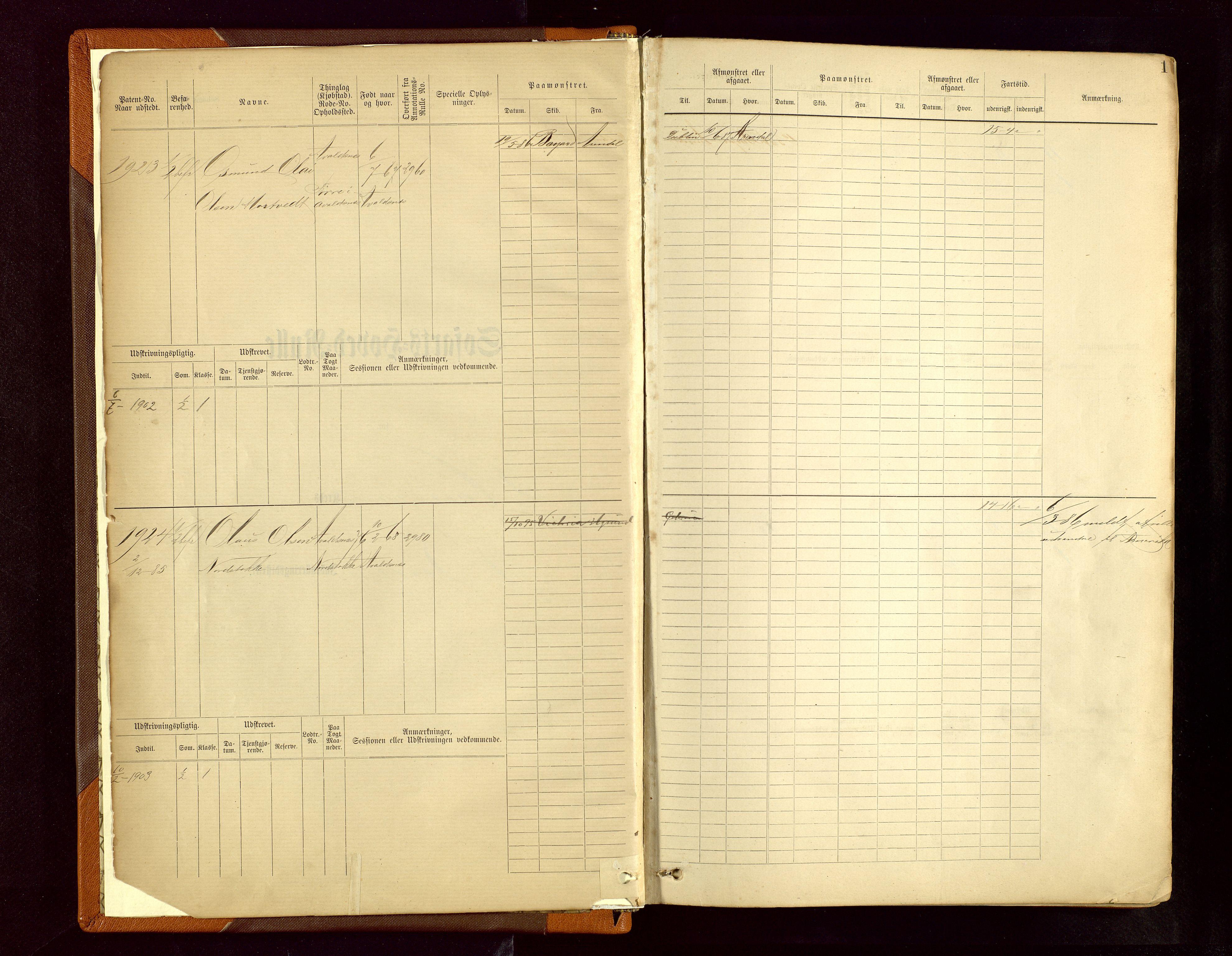 SAST, Haugesund sjømannskontor, F/Fb/Fbb/L0006: Sjøfartsrulle Haugesund krets nr.1923-2884, 1868-1948, s. 1
