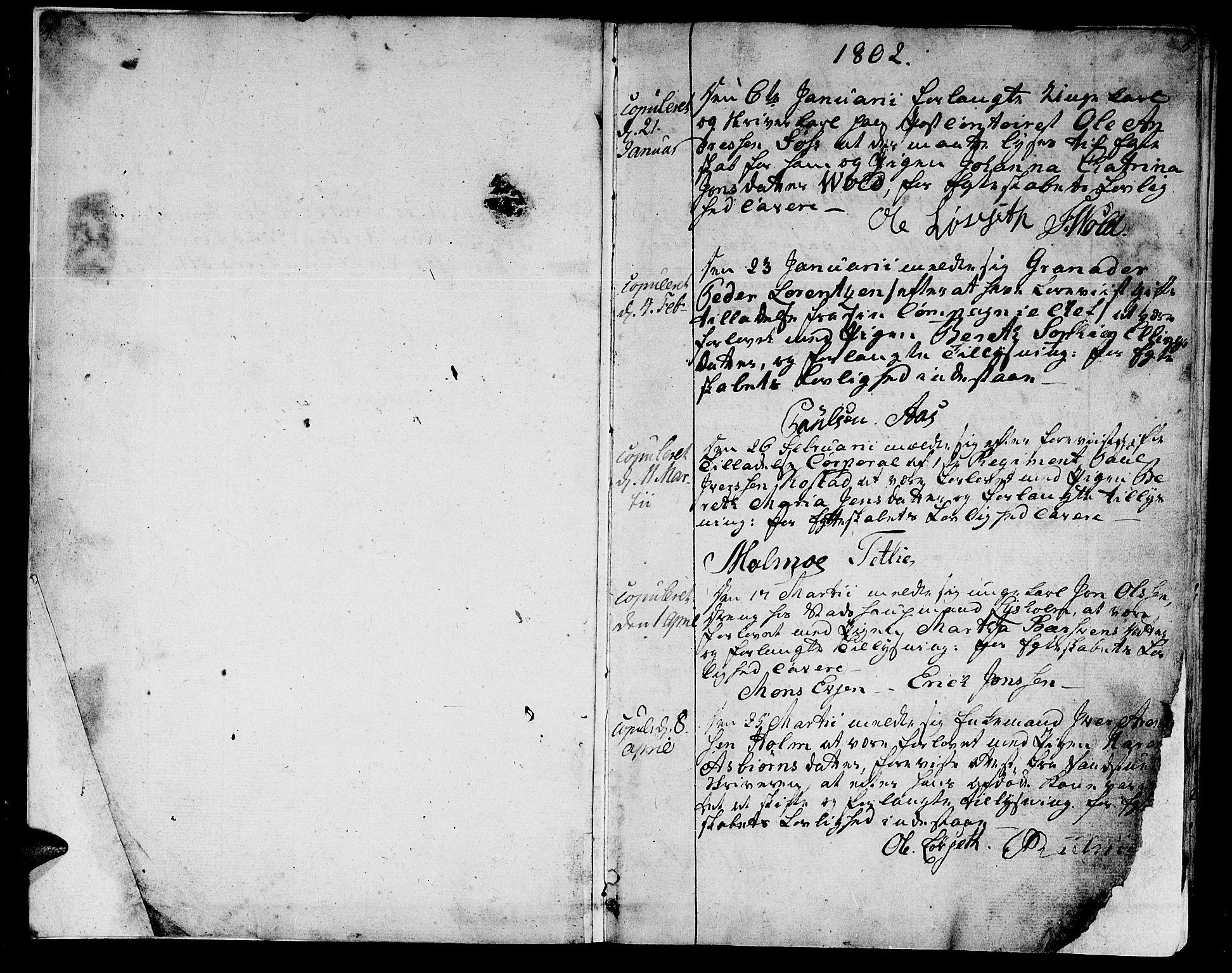 SAT, Ministerialprotokoller, klokkerbøker og fødselsregistre - Sør-Trøndelag, 601/L0042: Ministerialbok nr. 601A10, 1802-1830, s. 4-5