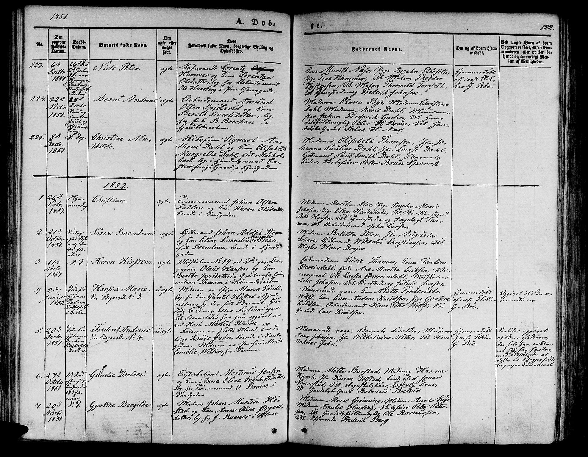 SAT, Ministerialprotokoller, klokkerbøker og fødselsregistre - Sør-Trøndelag, 602/L0137: Klokkerbok nr. 602C05, 1846-1856, s. 122