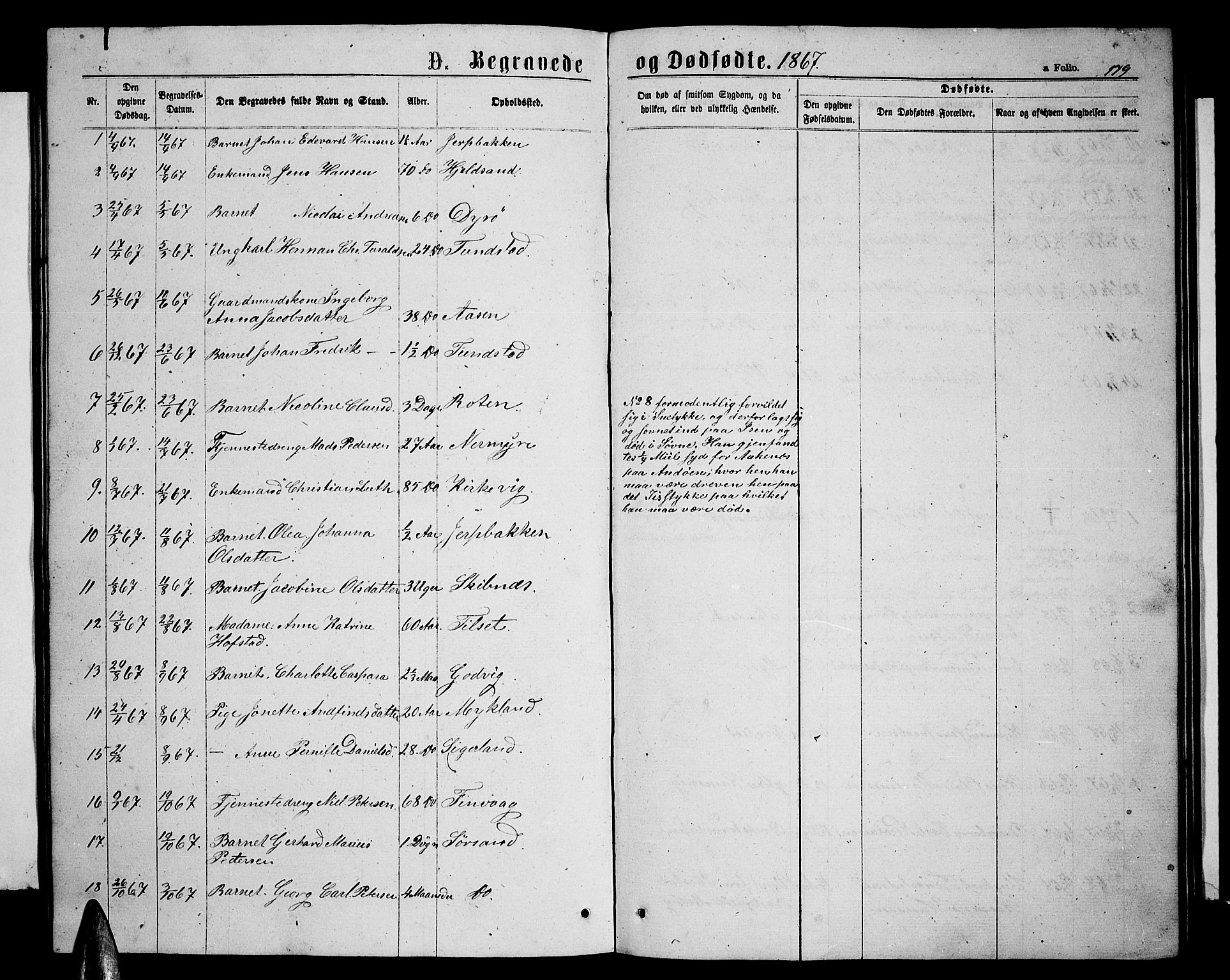 SAT, Ministerialprotokoller, klokkerbøker og fødselsregistre - Nordland, 893/L1348: Klokkerbok nr. 893C03, 1867-1877, s. 179