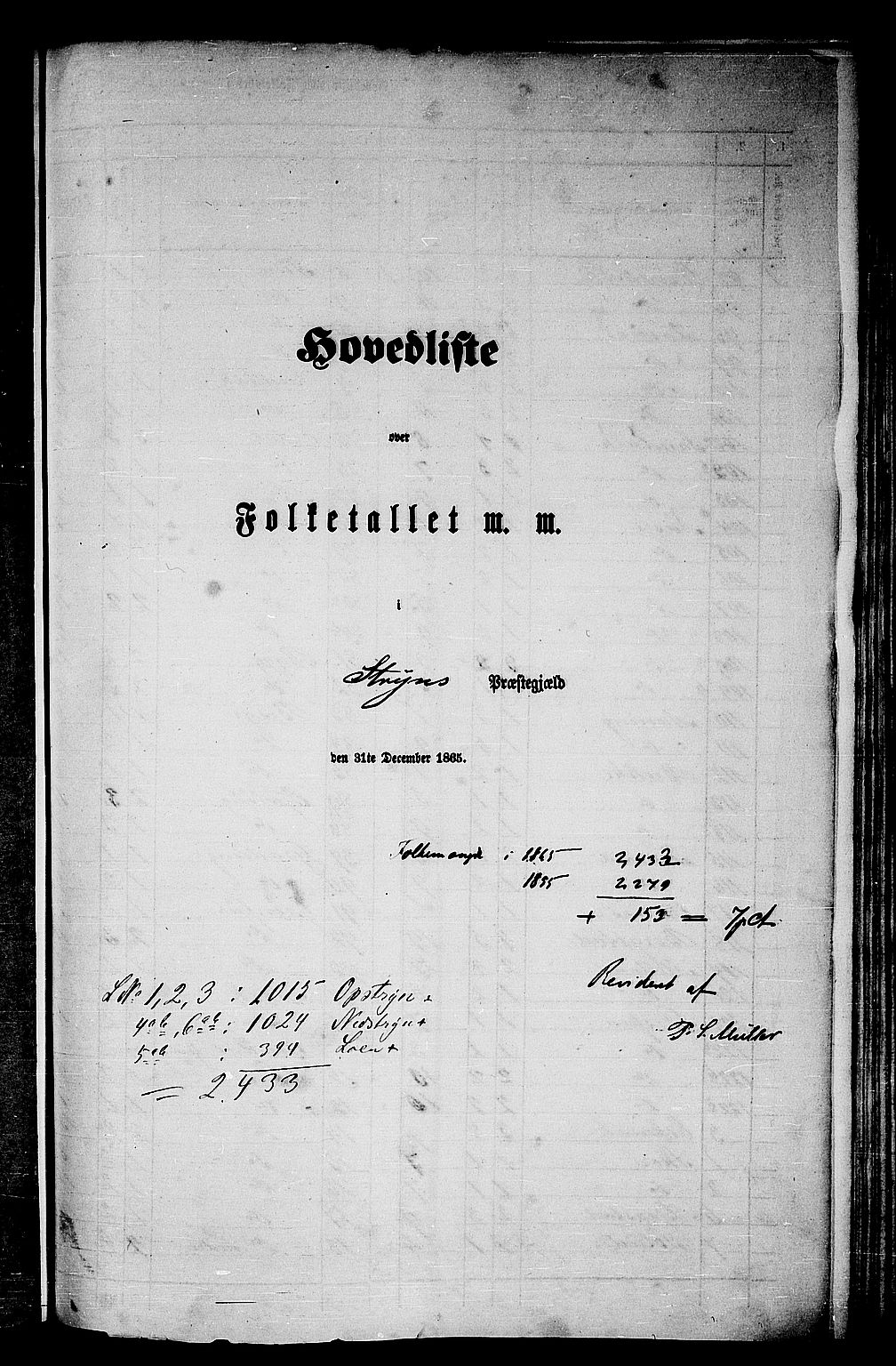RA, Folketelling 1865 for 1448P Stryn prestegjeld, 1865, s. 1
