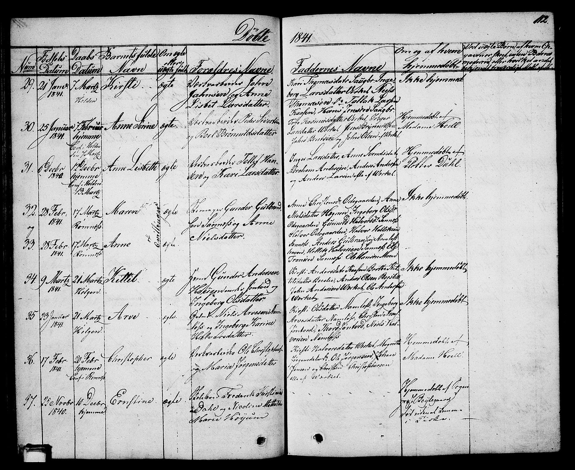 SAKO, Holla kirkebøker, G/Ga/L0002: Klokkerbok nr. I 2, 1830-1848, s. 112