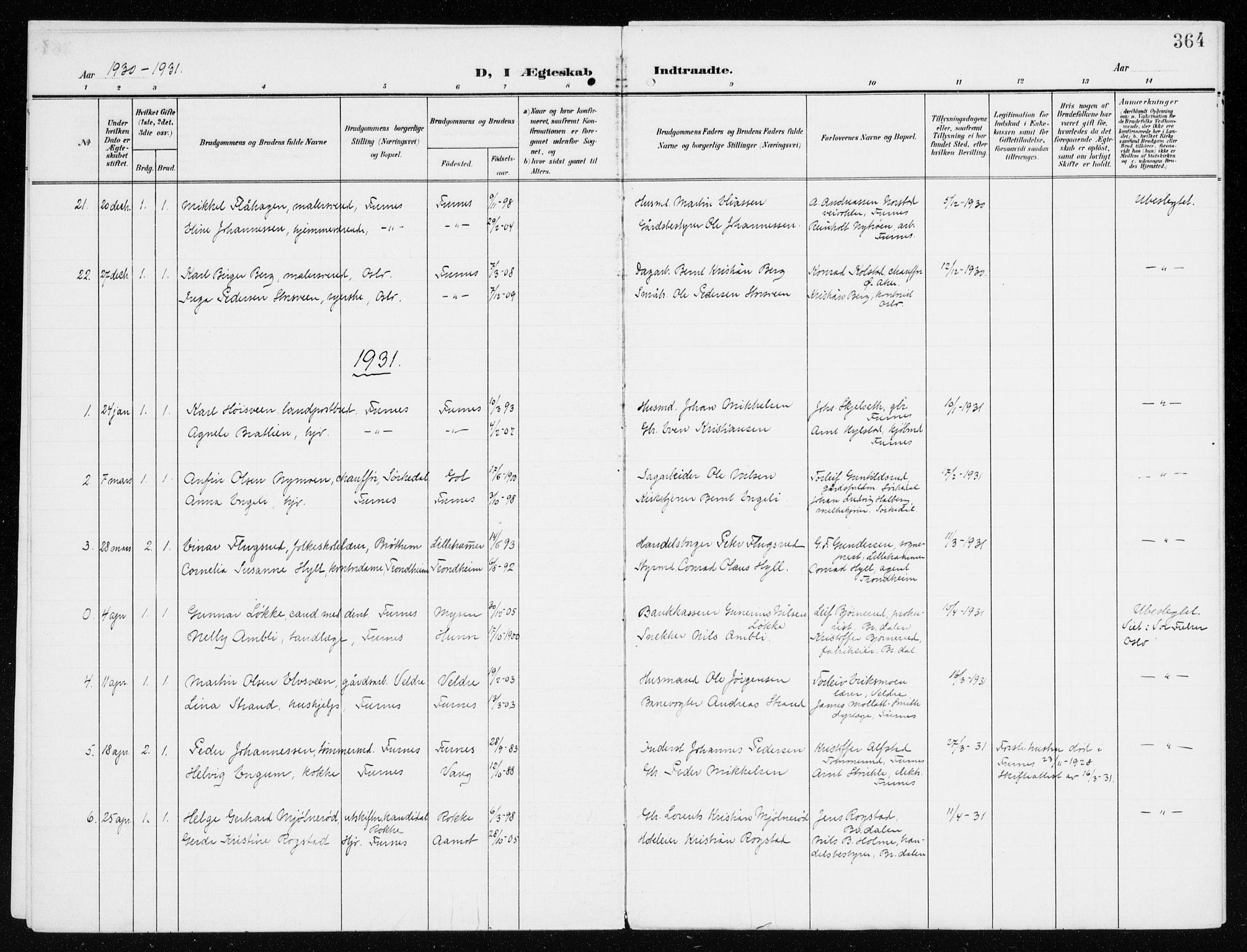 SAH, Furnes prestekontor, K/Ka/L0001: Ministerialbok nr. 1, 1907-1935, s. 364