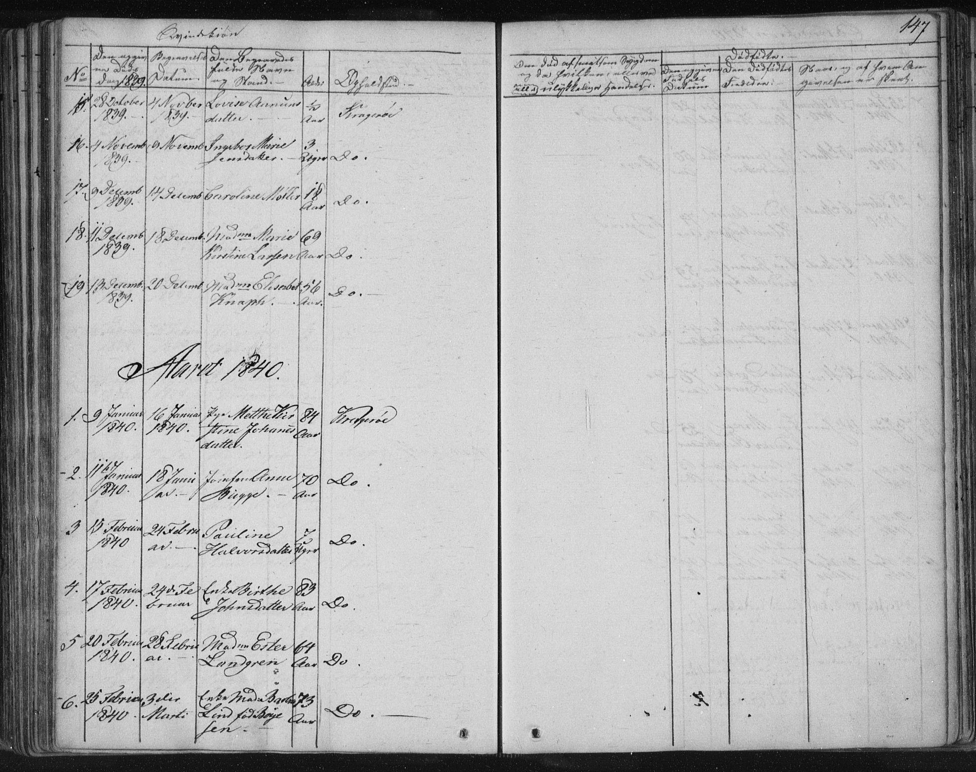 SAKO, Kragerø kirkebøker, F/Fa/L0005: Ministerialbok nr. 5, 1832-1847, s. 147