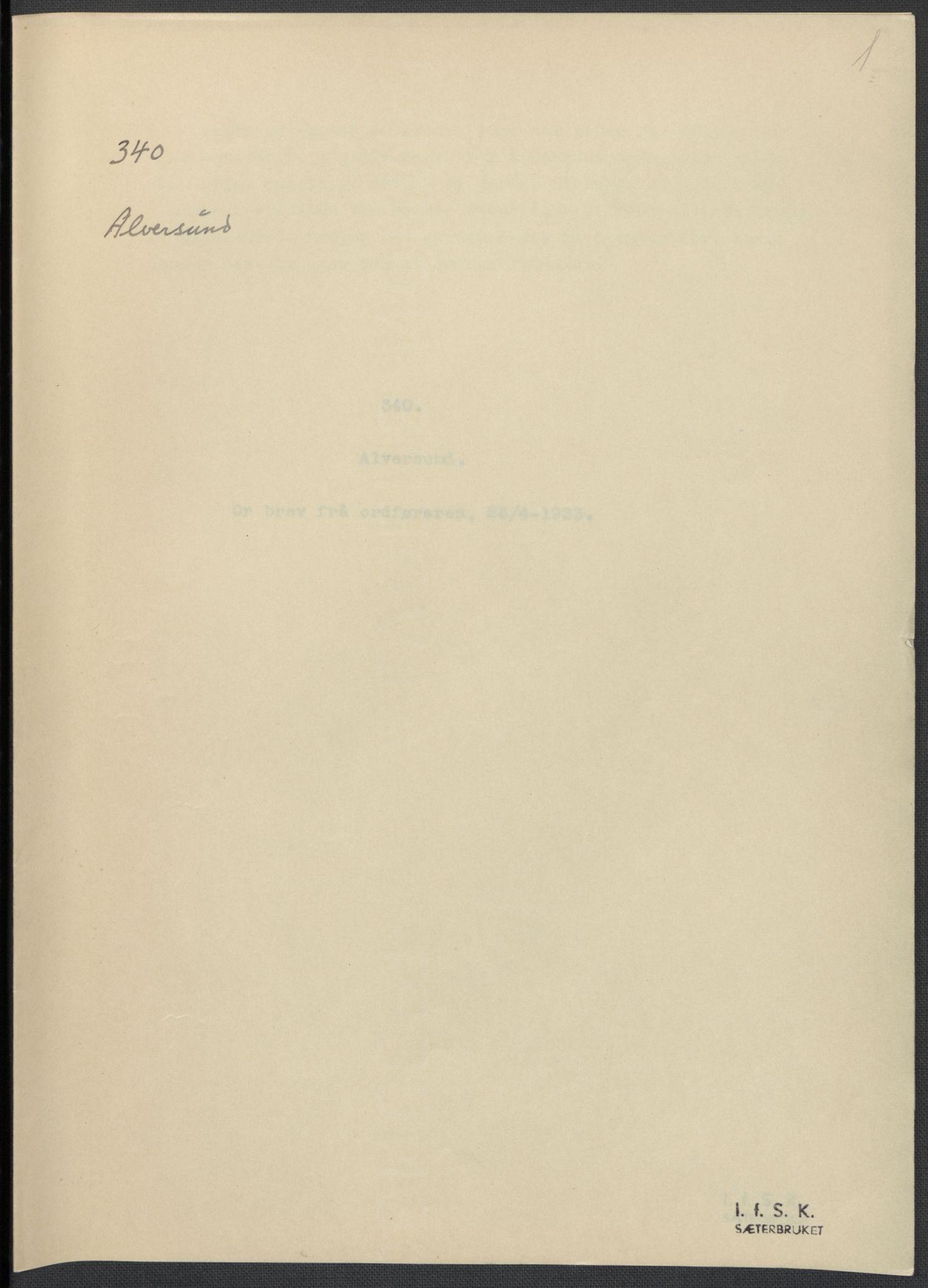 RA, Instituttet for sammenlignende kulturforskning, F/Fc/L0010: Eske B10:, 1932-1935, s. 1