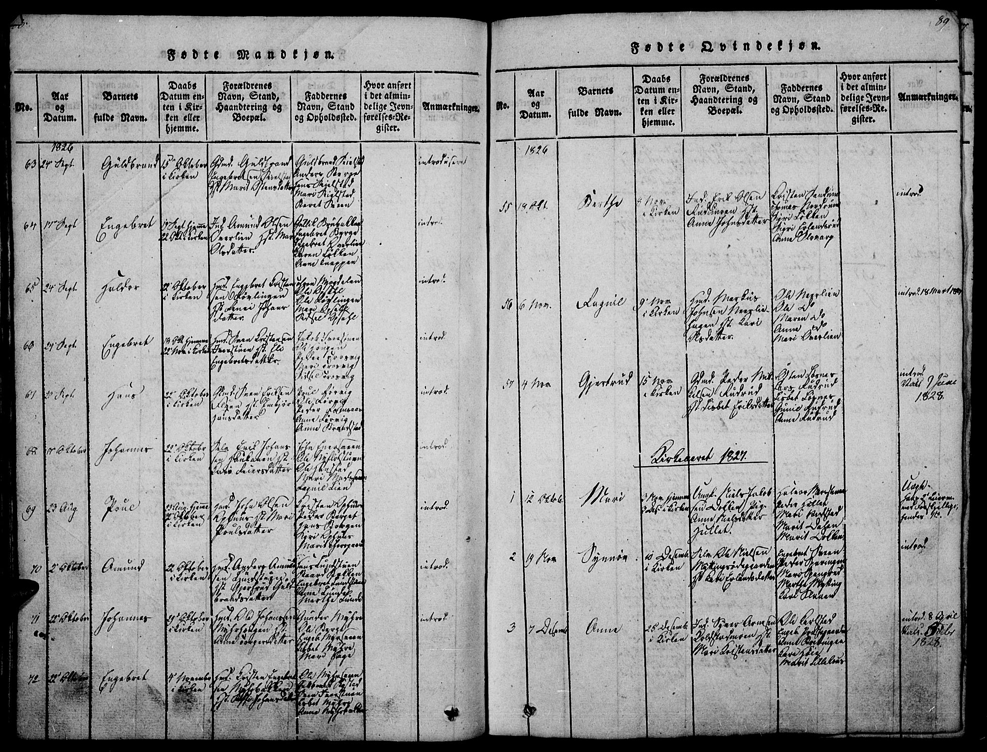 SAH, Ringebu prestekontor, Ministerialbok nr. 4, 1821-1839, s. 88-89