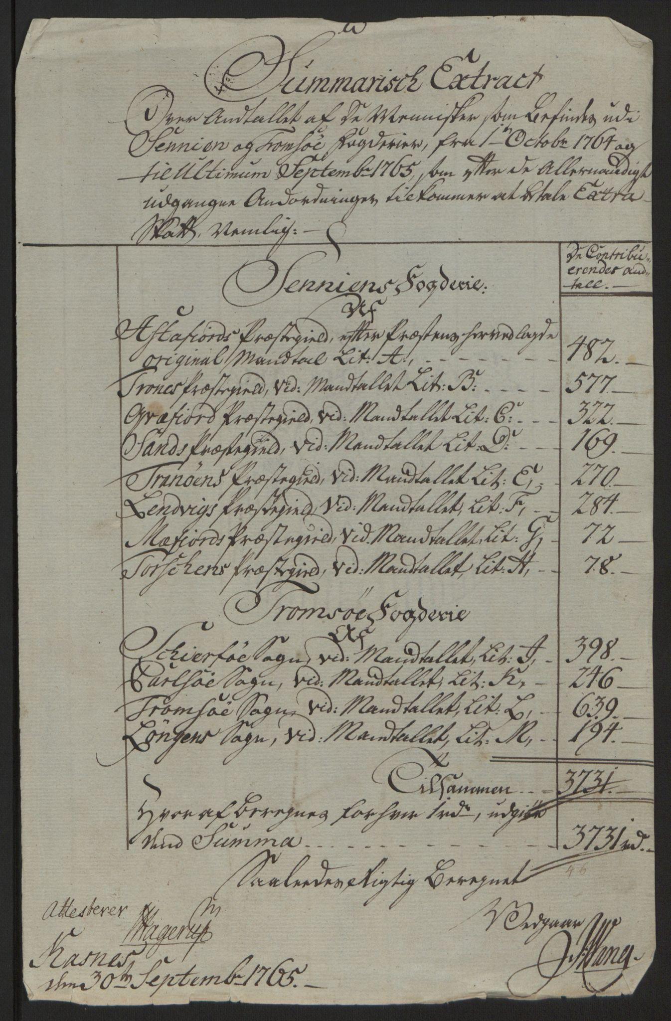 RA, Rentekammeret inntil 1814, Reviderte regnskaper, Fogderegnskap, R68/L4845: Ekstraskatten Senja og Troms, 1762-1765, s. 495