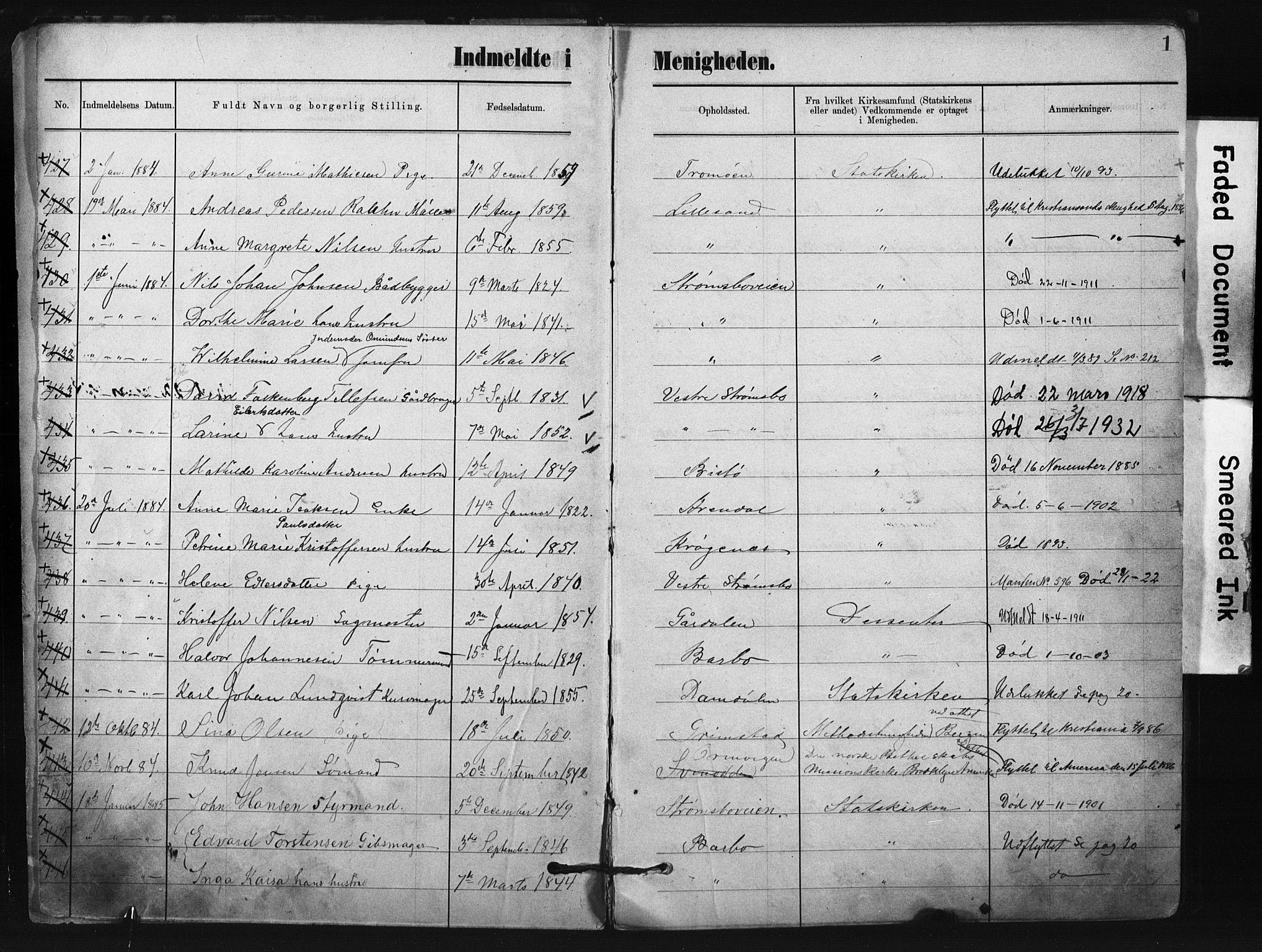SAK, Metodistmenigheten, Arendal, F/Fa/L0004: Dissenterprotokoll nr. F-4, 1883-1892, s. 1