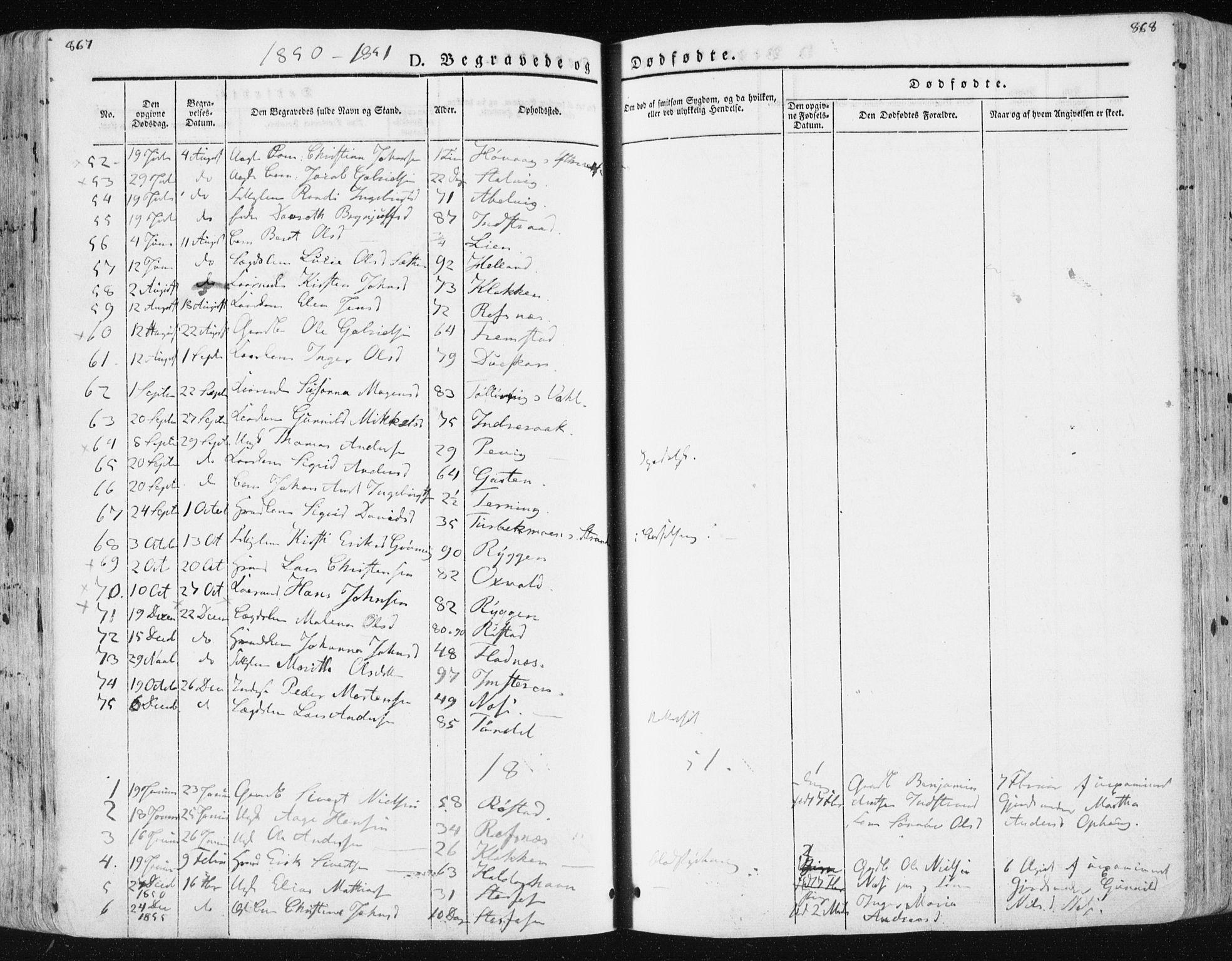 SAT, Ministerialprotokoller, klokkerbøker og fødselsregistre - Sør-Trøndelag, 659/L0736: Ministerialbok nr. 659A06, 1842-1856, s. 867-868