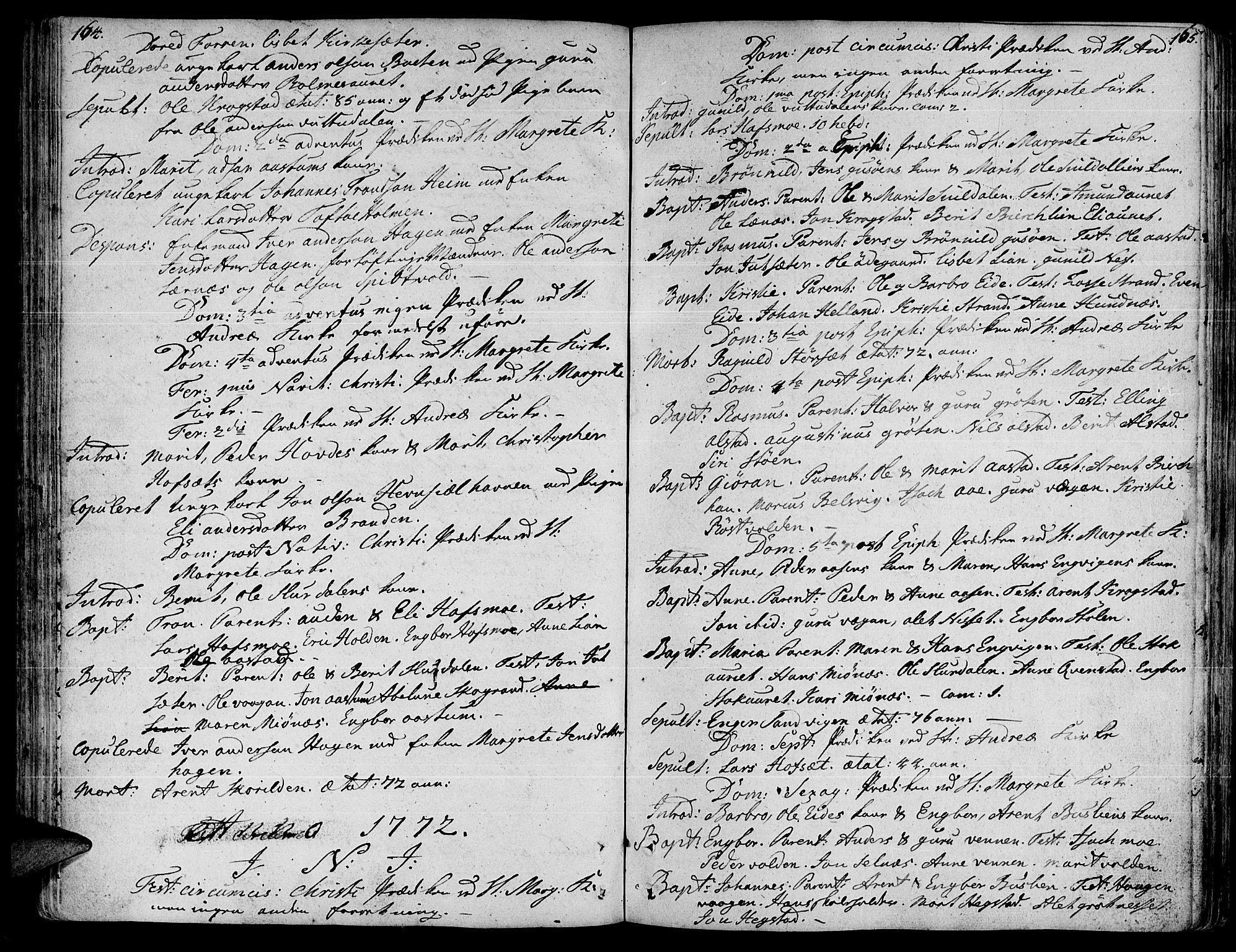 SAT, Ministerialprotokoller, klokkerbøker og fødselsregistre - Sør-Trøndelag, 630/L0489: Ministerialbok nr. 630A02, 1757-1794, s. 164-165