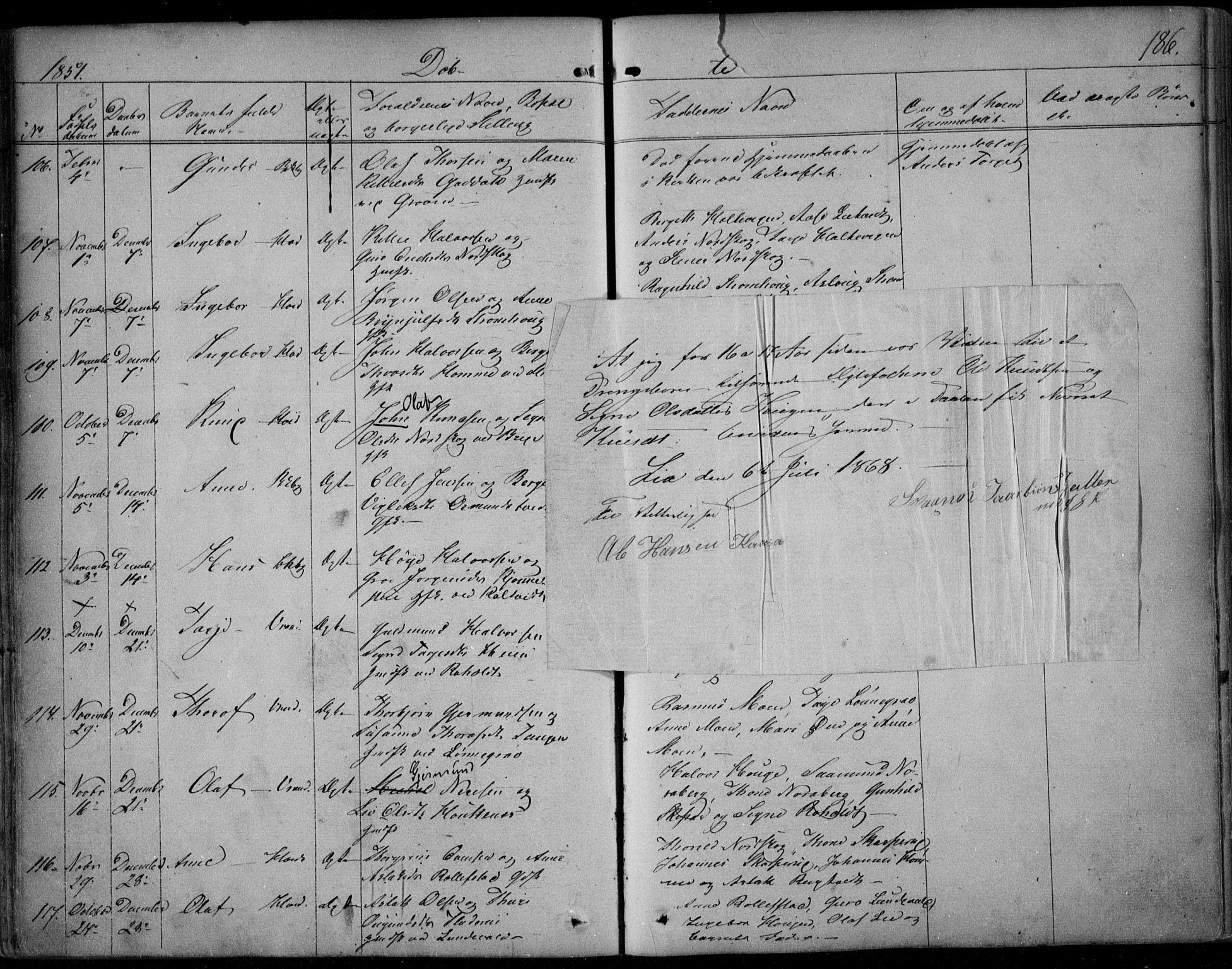 SAKO, Kviteseid kirkebøker, F/Fa/L0006: Ministerialbok nr. I 6, 1836-1858, s. 186