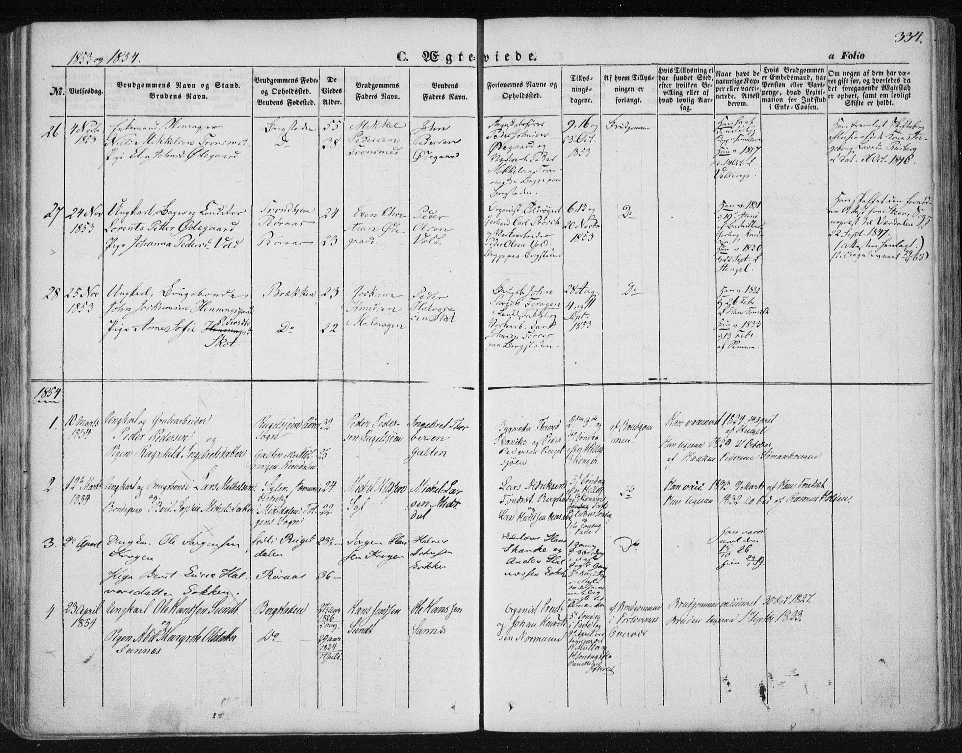 SAT, Ministerialprotokoller, klokkerbøker og fødselsregistre - Sør-Trøndelag, 681/L0931: Ministerialbok nr. 681A09, 1845-1859, s. 334