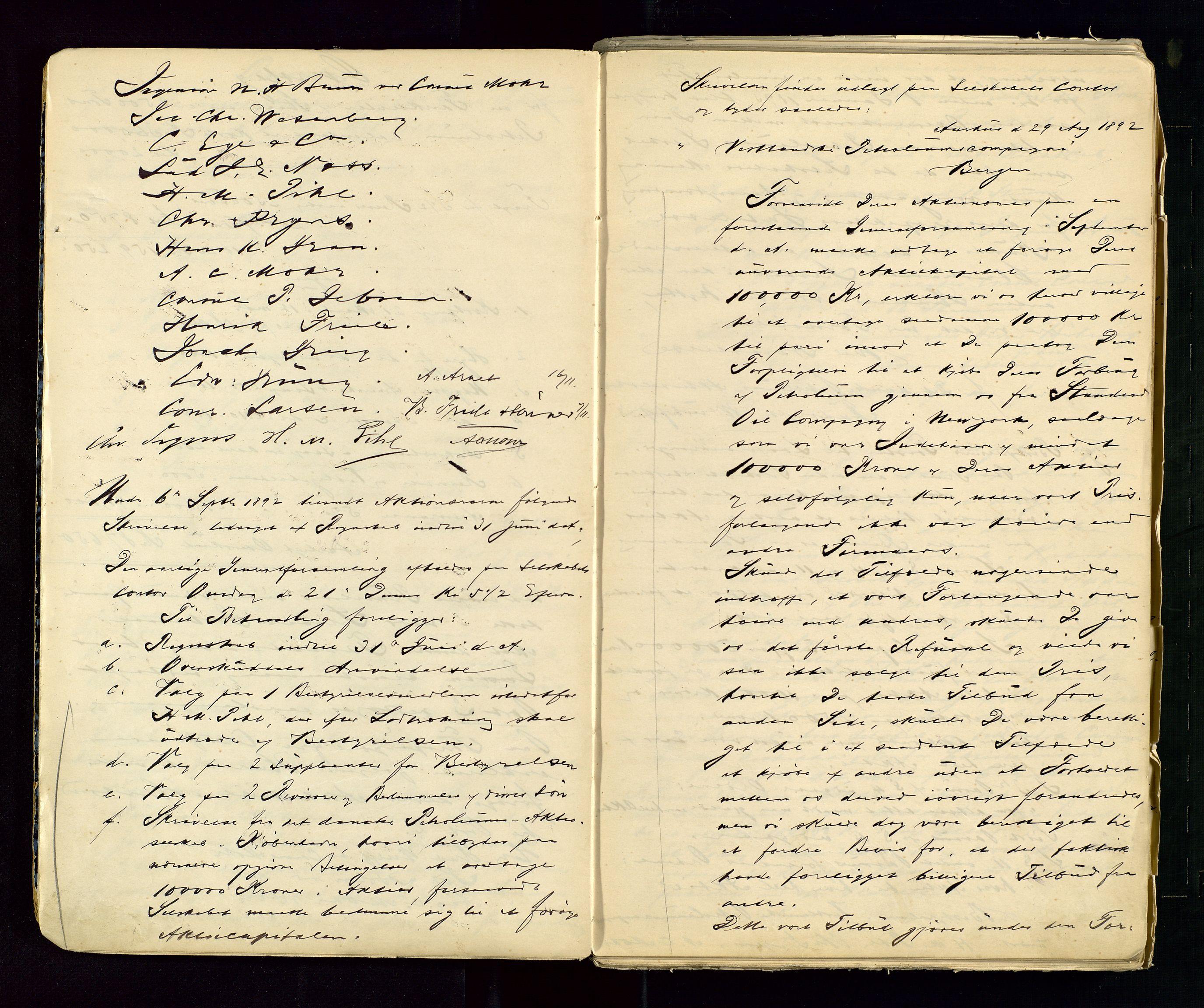 SAST, PA 1533 - A/S Vestlandske Petroleumscompani, A/Aa/L0001: Generalforsamlinger og styreprotokoller, 1890-1953, s. 10
