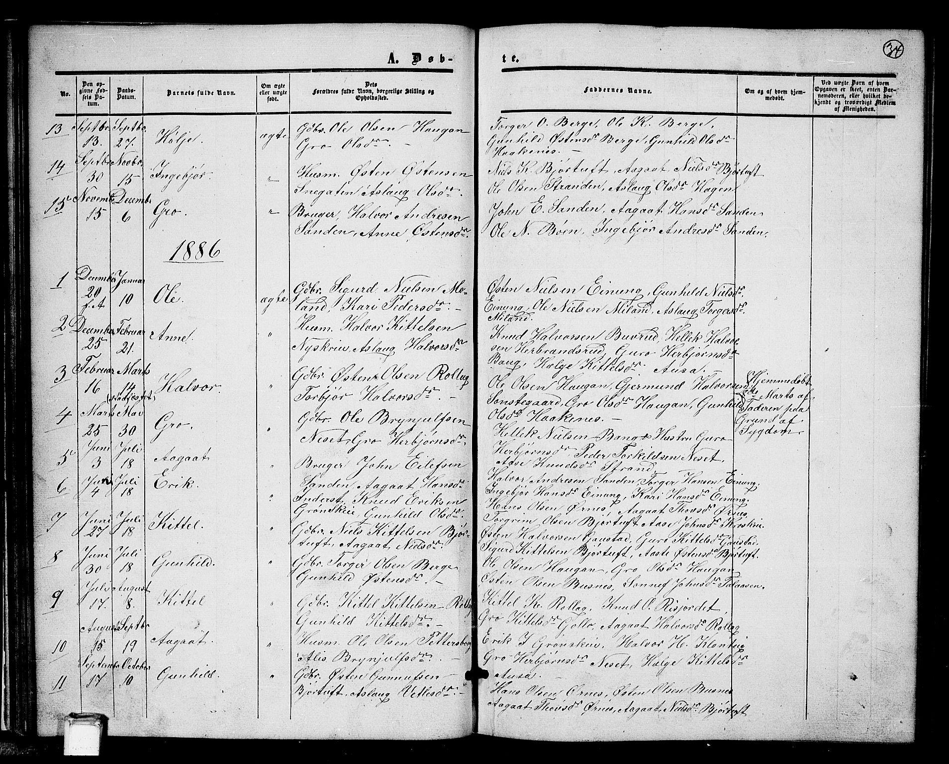 SAKO, Tinn kirkebøker, G/Gb/L0002: Klokkerbok nr. II 2, 1851-1886, s. 34