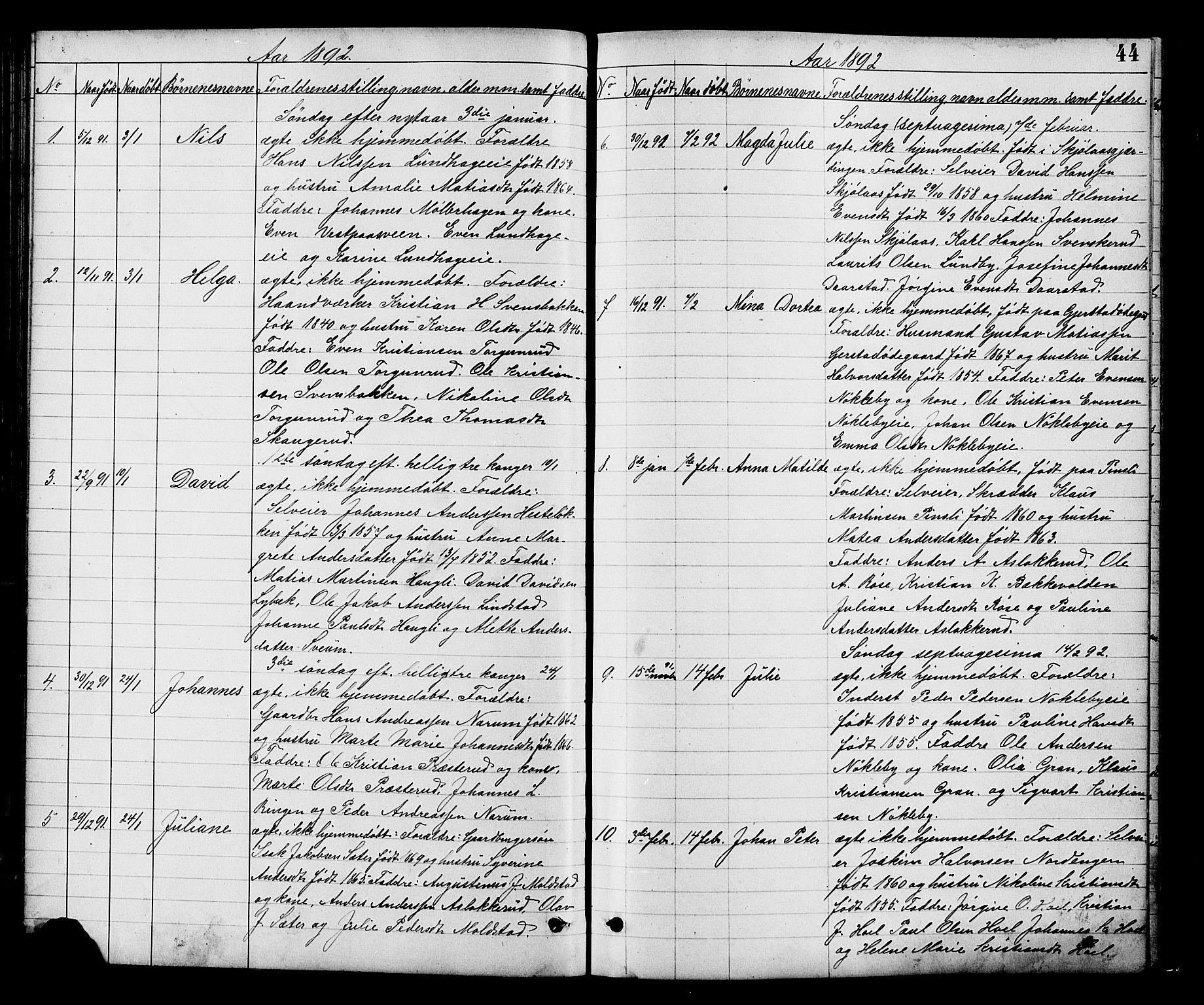 SAH, Vestre Toten prestekontor, Klokkerbok nr. 8, 1885-1900, s. 44