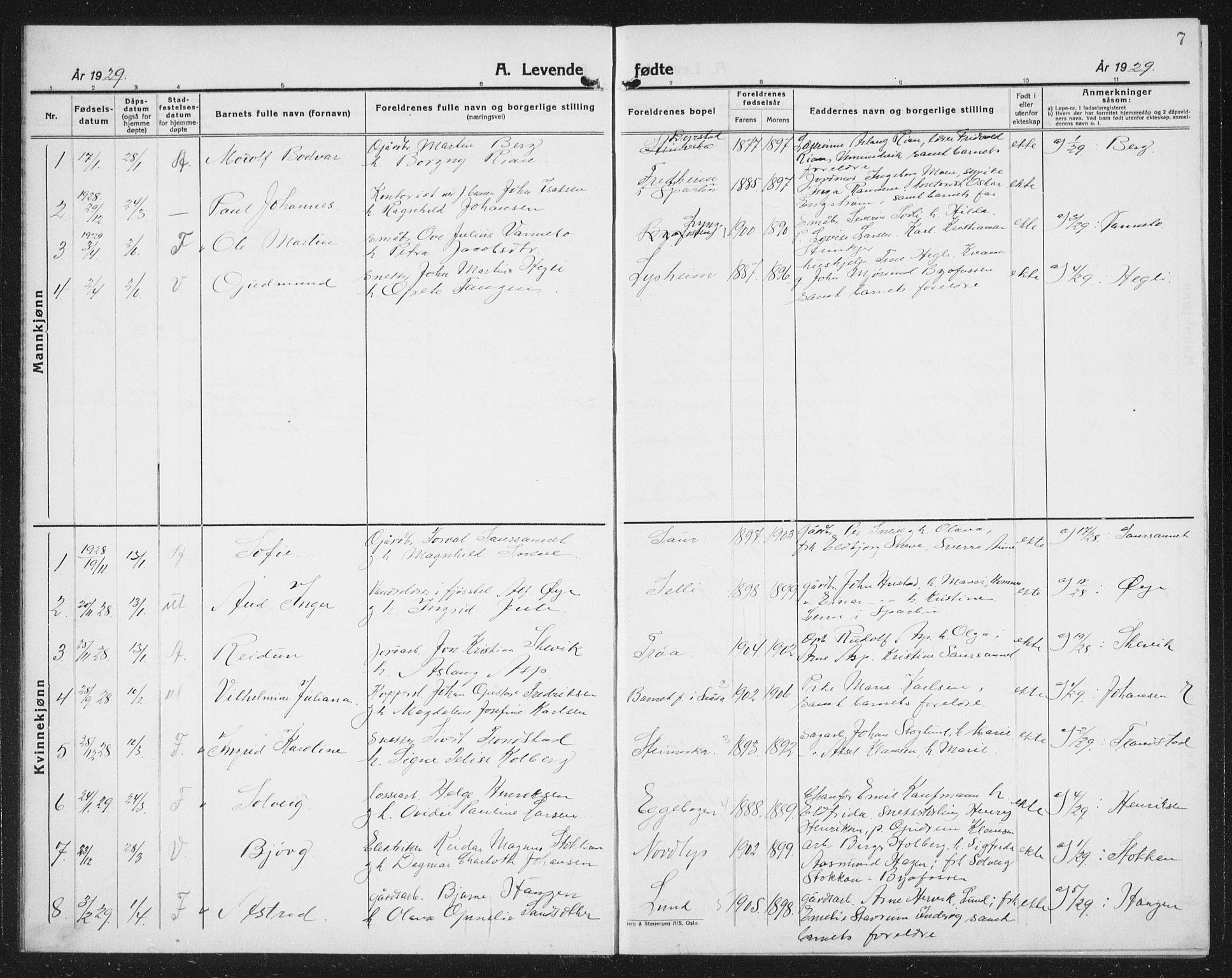 SAT, Ministerialprotokoller, klokkerbøker og fødselsregistre - Nord-Trøndelag, 740/L0383: Klokkerbok nr. 740C04, 1927-1939, s. 7