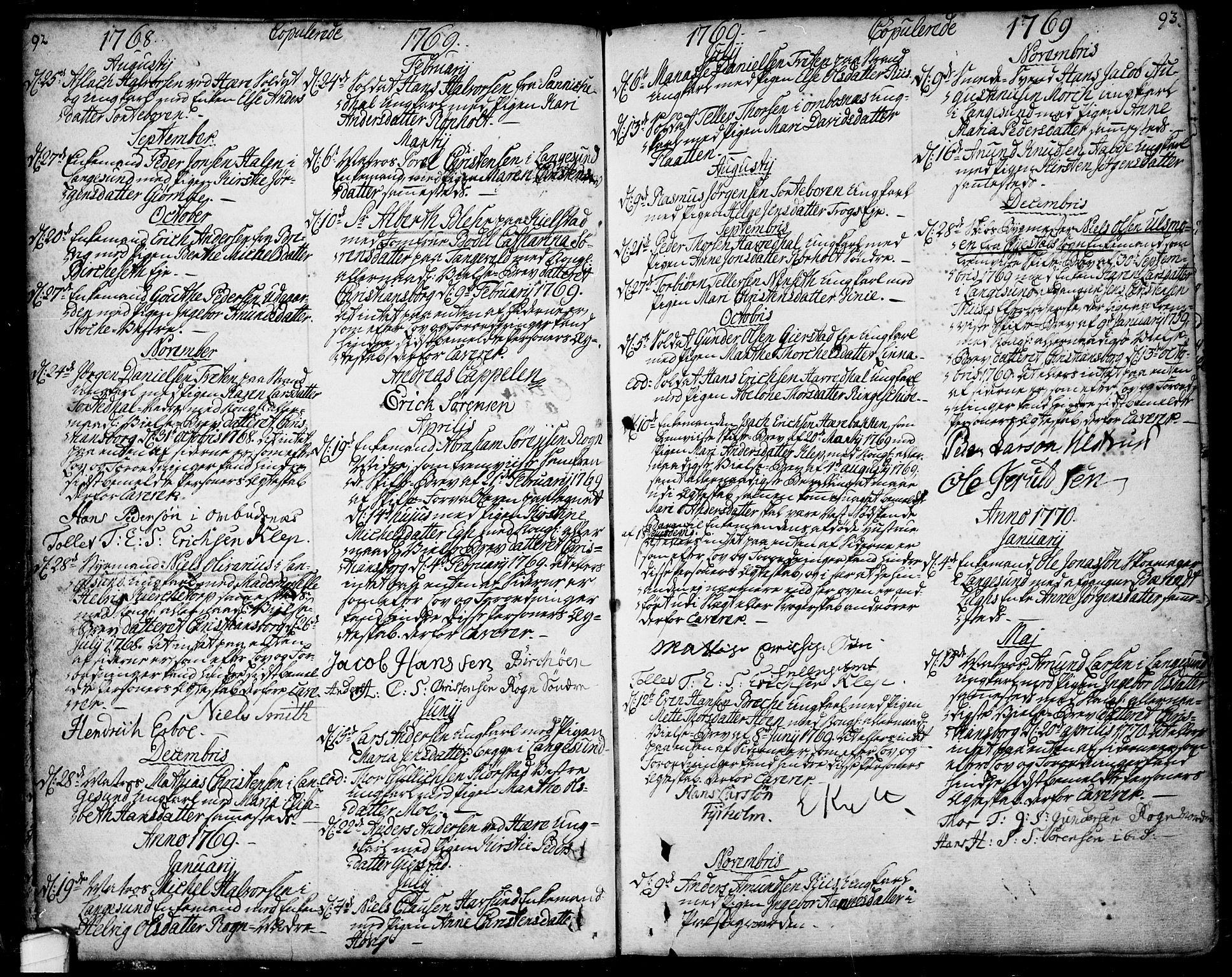 SAKO, Bamble kirkebøker, F/Fa/L0001: Ministerialbok nr. I 1, 1702-1774, s. 92-93