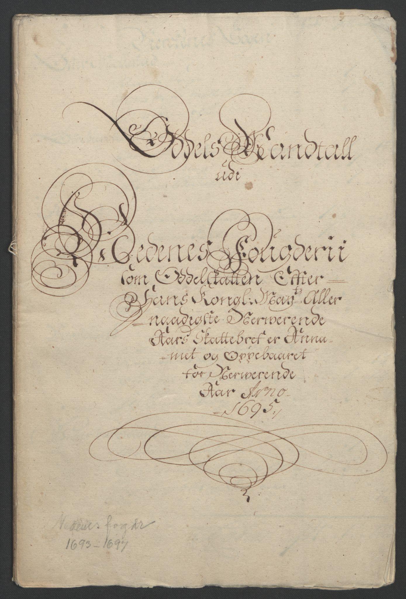 RA, Rentekammeret inntil 1814, Reviderte regnskaper, Fogderegnskap, R39/L2312: Fogderegnskap Nedenes, 1693-1695, s. 293