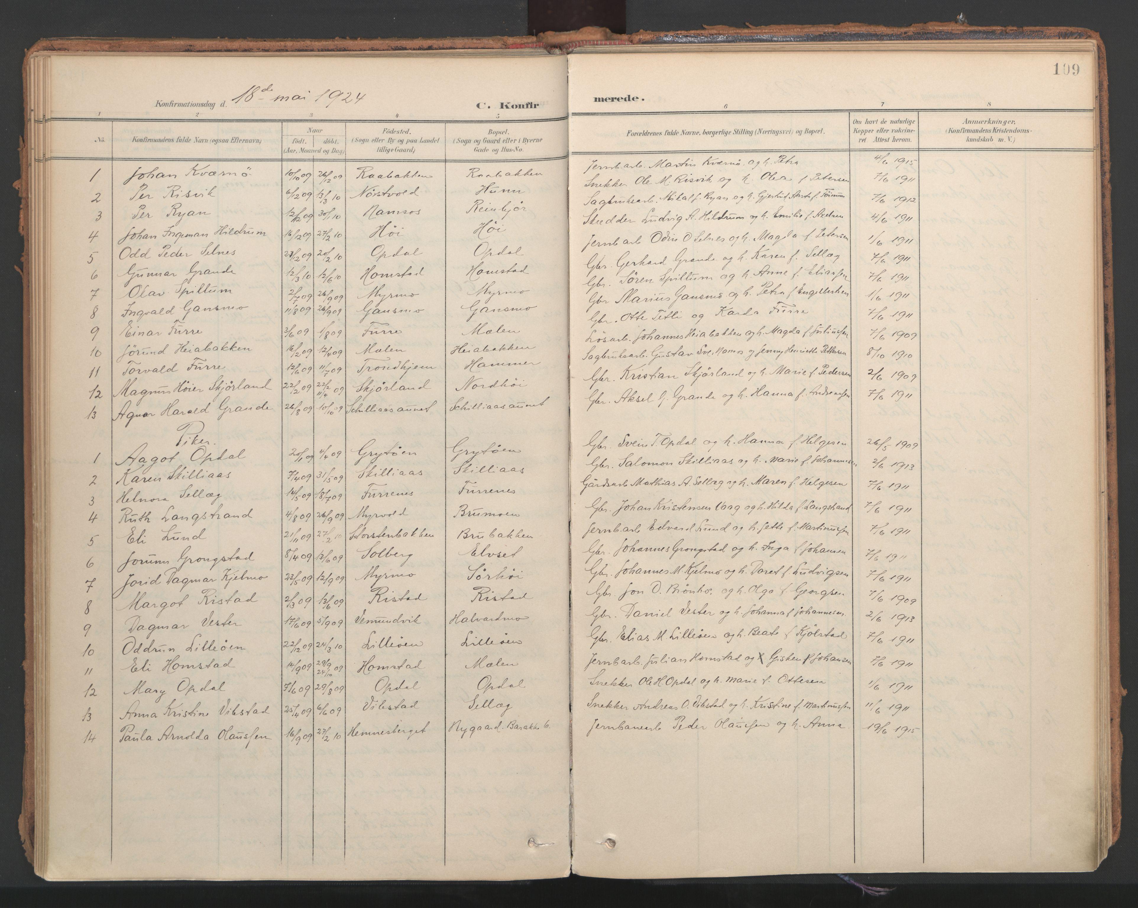SAT, Ministerialprotokoller, klokkerbøker og fødselsregistre - Nord-Trøndelag, 766/L0564: Ministerialbok nr. 767A02, 1900-1932, s. 109