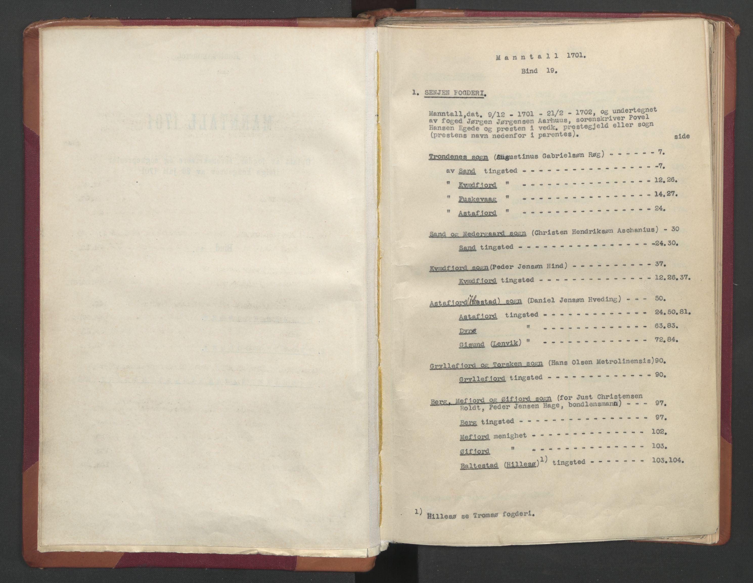 RA, Manntallet 1701, nr. 19: Senja og Tromsø fogderi, 1701, s. upaginert