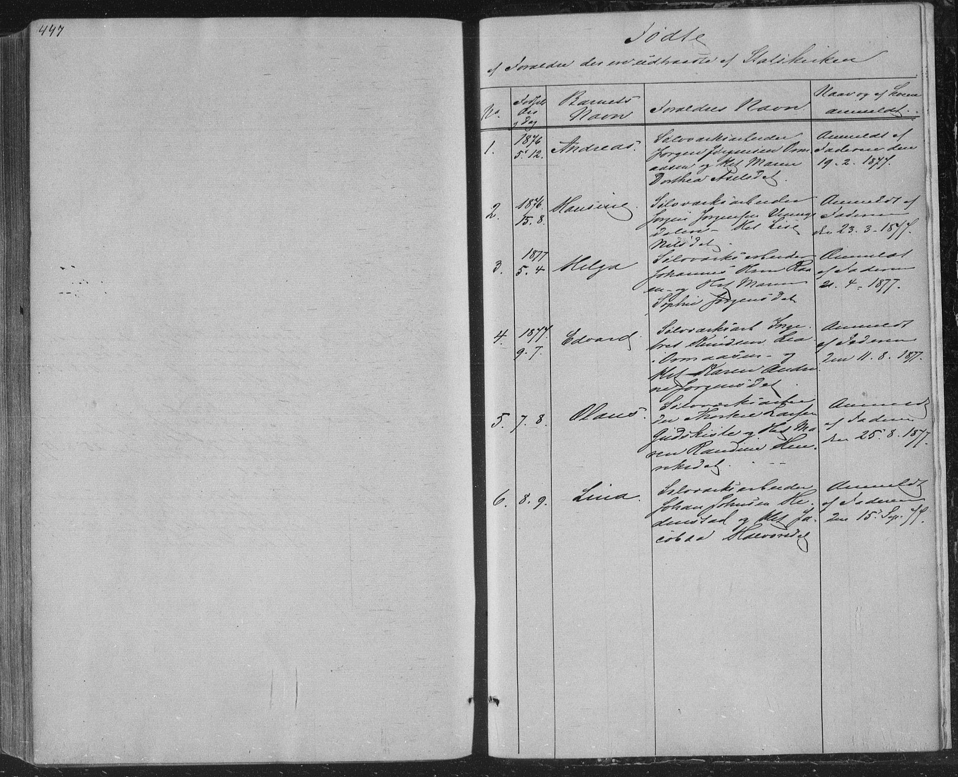 SAKO, Sandsvær kirkebøker, F/Fa/L0007: Ministerialbok nr. I 7, 1869-1877, s. 447