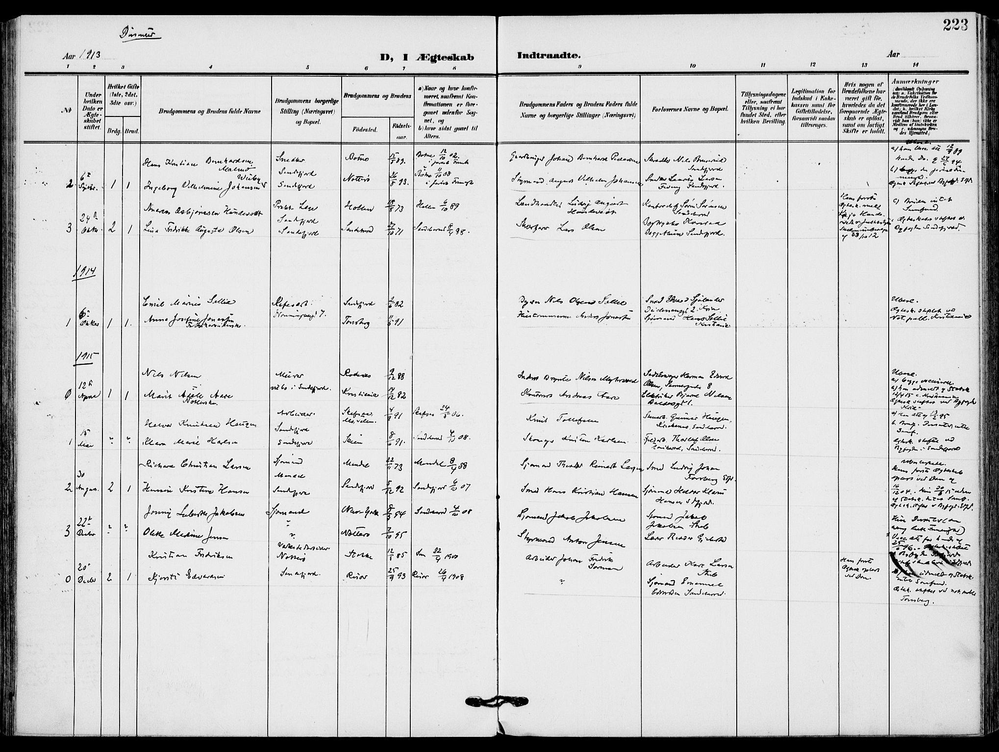 SAKO, Sandefjord kirkebøker, F/Fa/L0005: Ministerialbok nr. 5, 1906-1915, s. 223