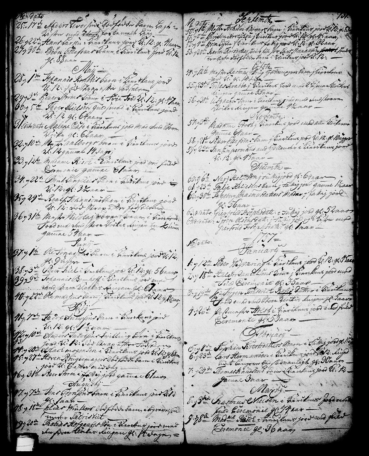 SAKO, Skien kirkebøker, G/Ga/L0001: Klokkerbok nr. 1, 1756-1791, s. 131