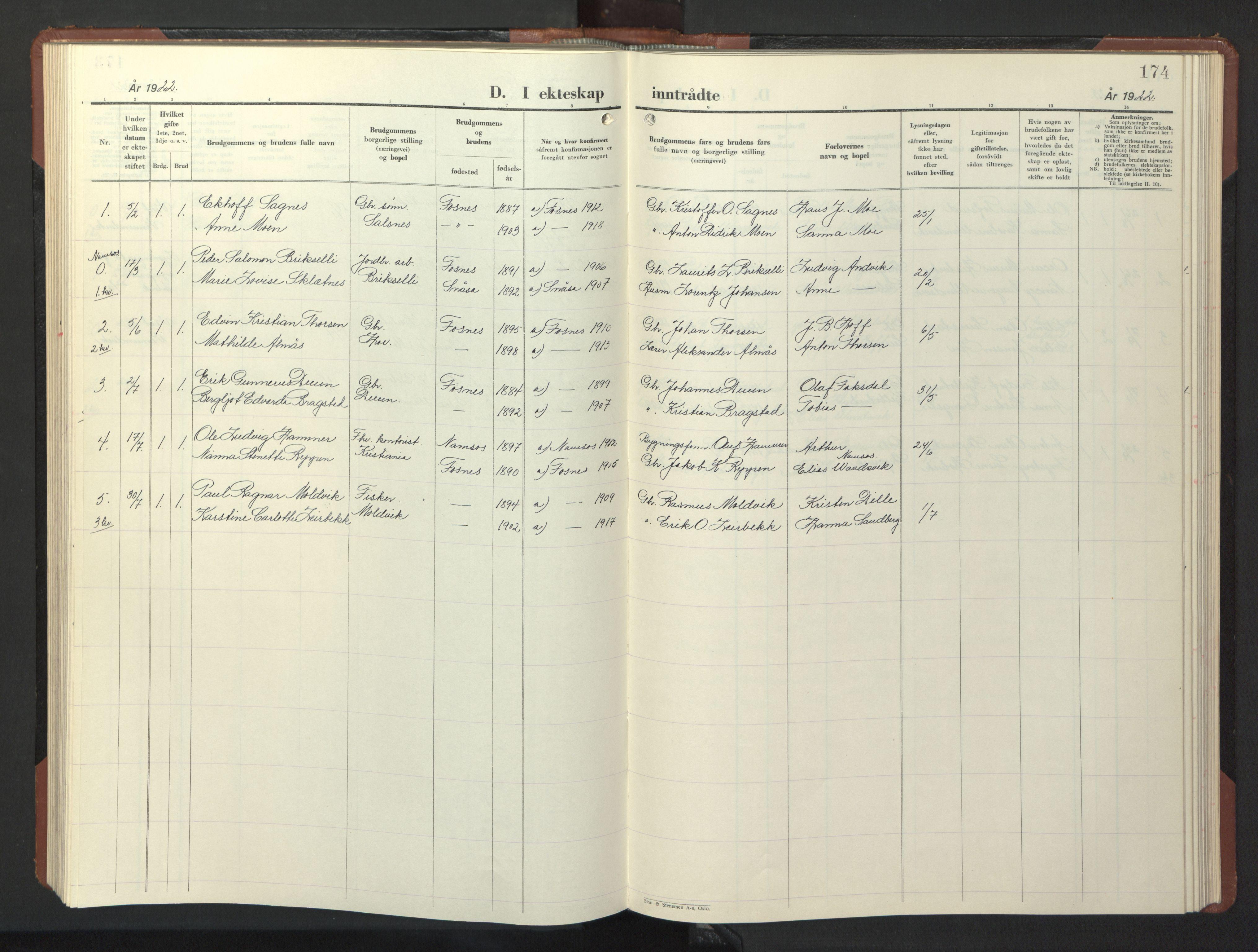 SAT, Ministerialprotokoller, klokkerbøker og fødselsregistre - Nord-Trøndelag, 773/L0625: Klokkerbok nr. 773C01, 1910-1952, s. 174