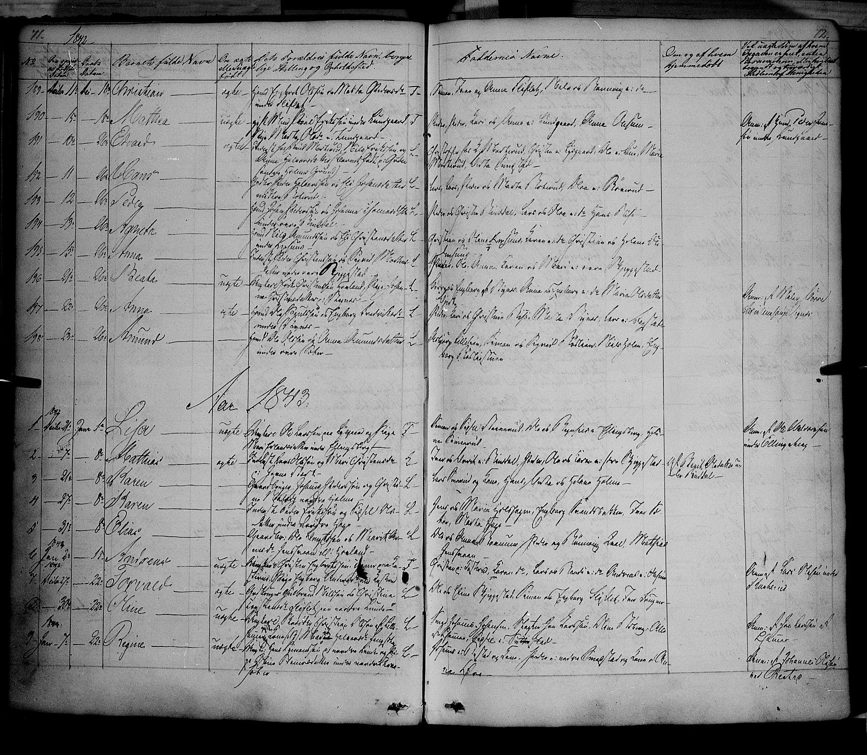 SAH, Fåberg prestekontor, Ministerialbok nr. 5, 1836-1854, s. 71-72