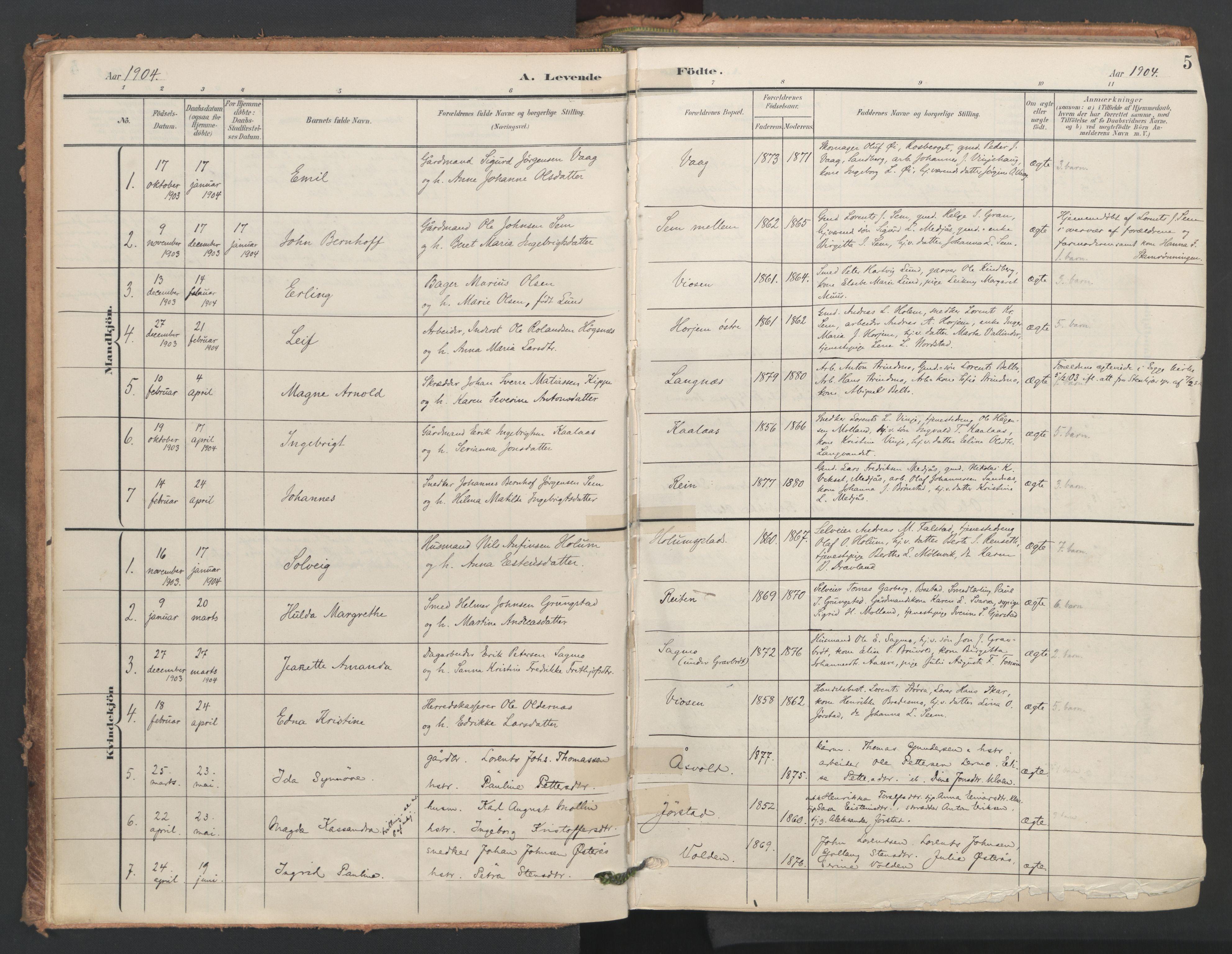 SAT, Ministerialprotokoller, klokkerbøker og fødselsregistre - Nord-Trøndelag, 749/L0477: Ministerialbok nr. 749A11, 1902-1927, s. 5