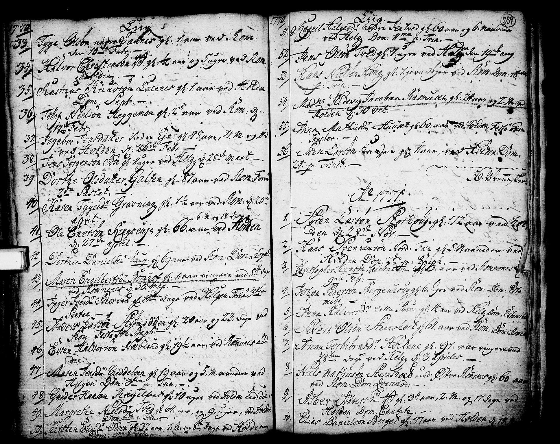 SAKO, Holla kirkebøker, F/Fa/L0001: Ministerialbok nr. 1, 1717-1779, s. 239