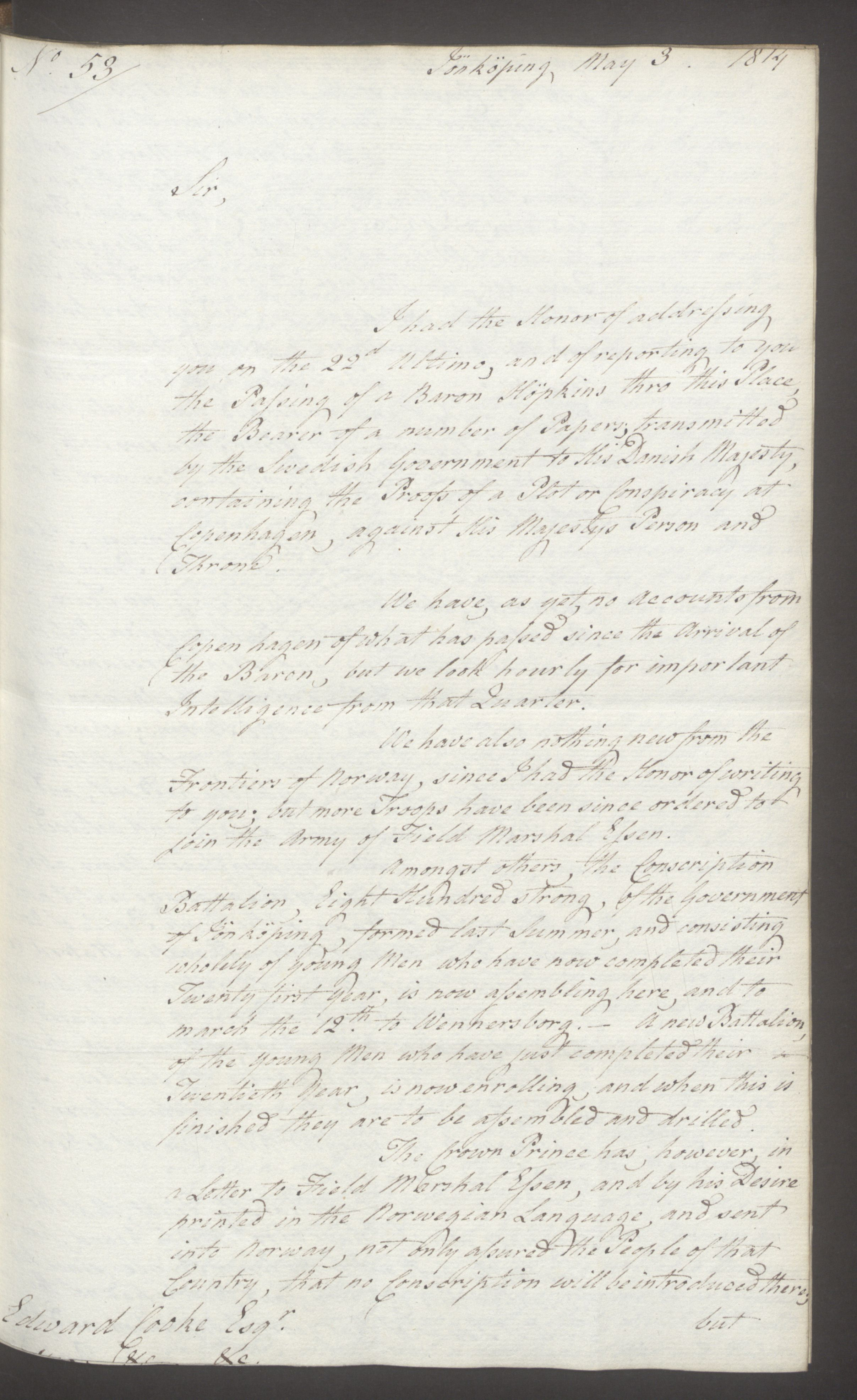 UKA, Foreign Office*, FO 38/16: Sir C. Gordon. Reports from Malmö, Jonkoping, and Helsingborg, 1814, s. 38
