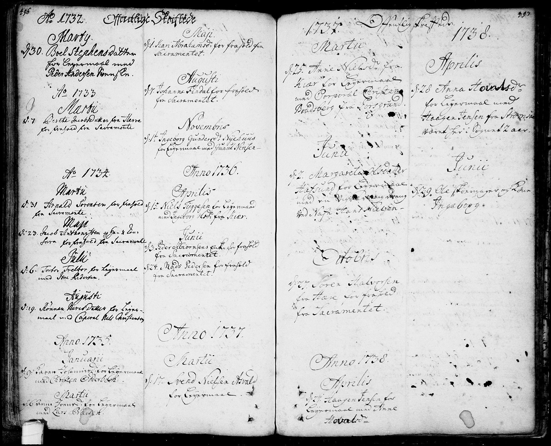 SAKO, Bamble kirkebøker, F/Fa/L0001: Ministerialbok nr. I 1, 1702-1774, s. 496-497