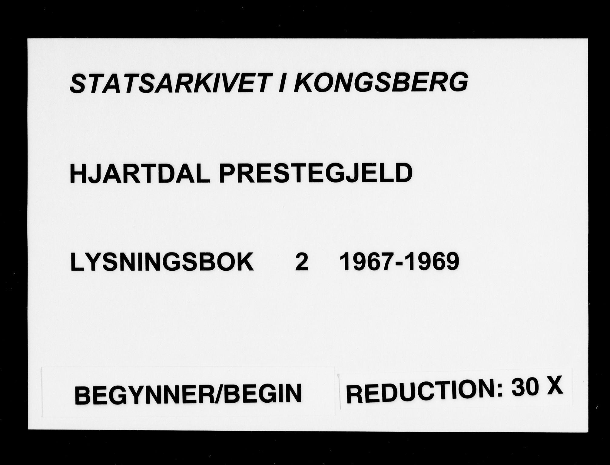 SAKO, Hjartdal kirkebøker, H/Ha/L0002: Lysningsprotokoll nr. 2, 1967-1969