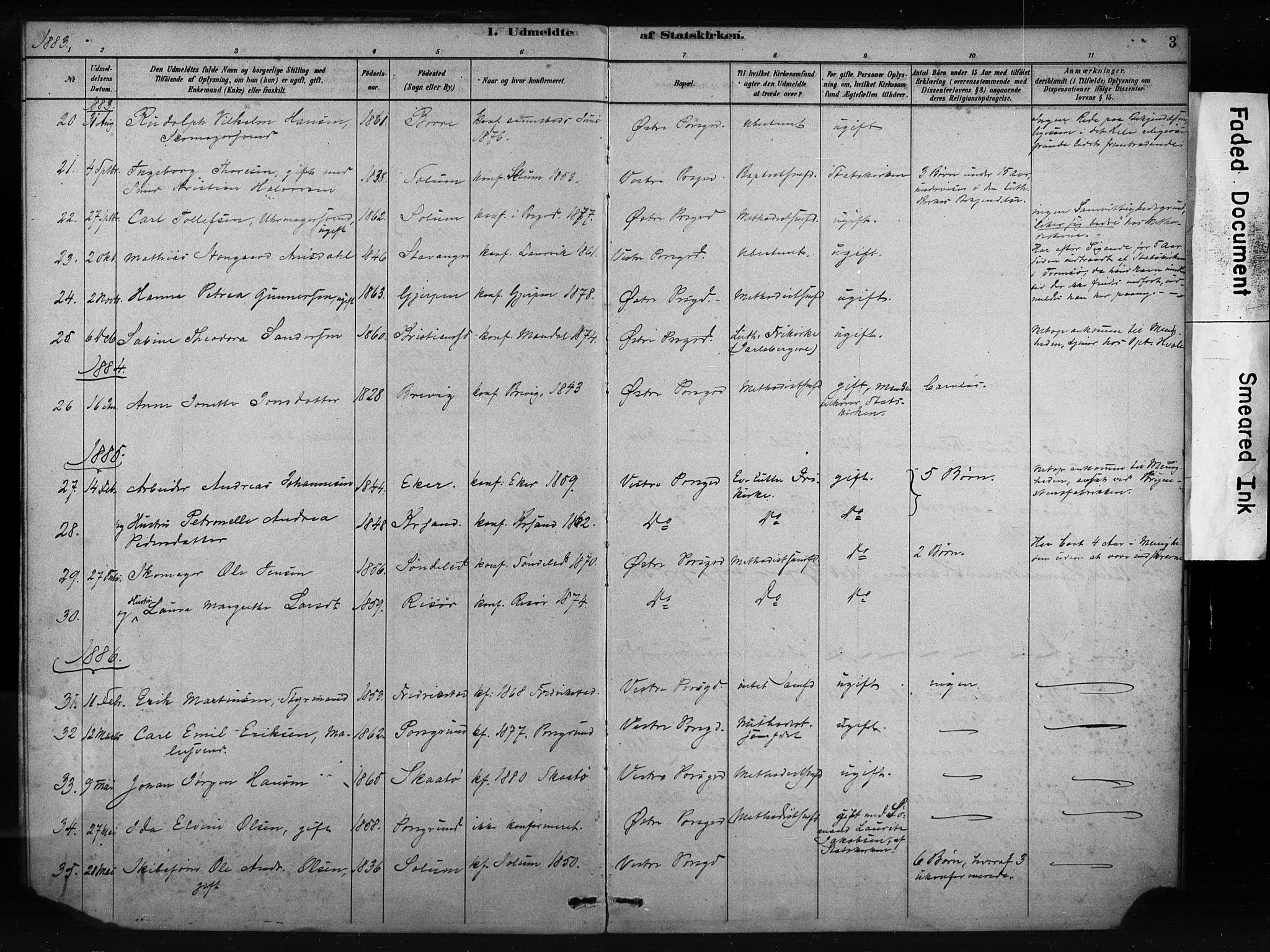 SAKO, Porsgrunn kirkebøker , F/Fa/L0009: Ministerialbok nr. 9, 1878-1923, s. 3