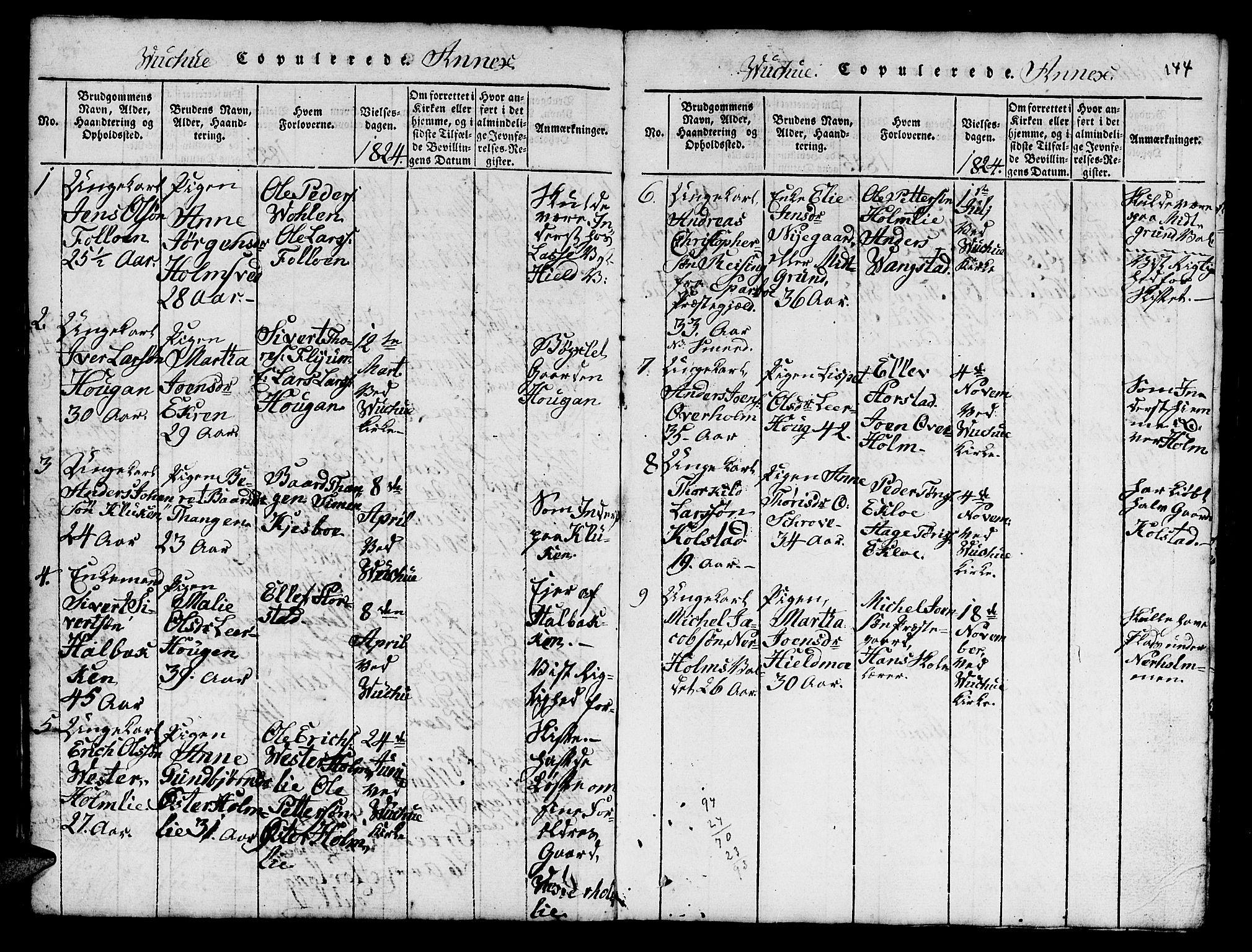 SAT, Ministerialprotokoller, klokkerbøker og fødselsregistre - Nord-Trøndelag, 724/L0265: Klokkerbok nr. 724C01, 1816-1845, s. 144