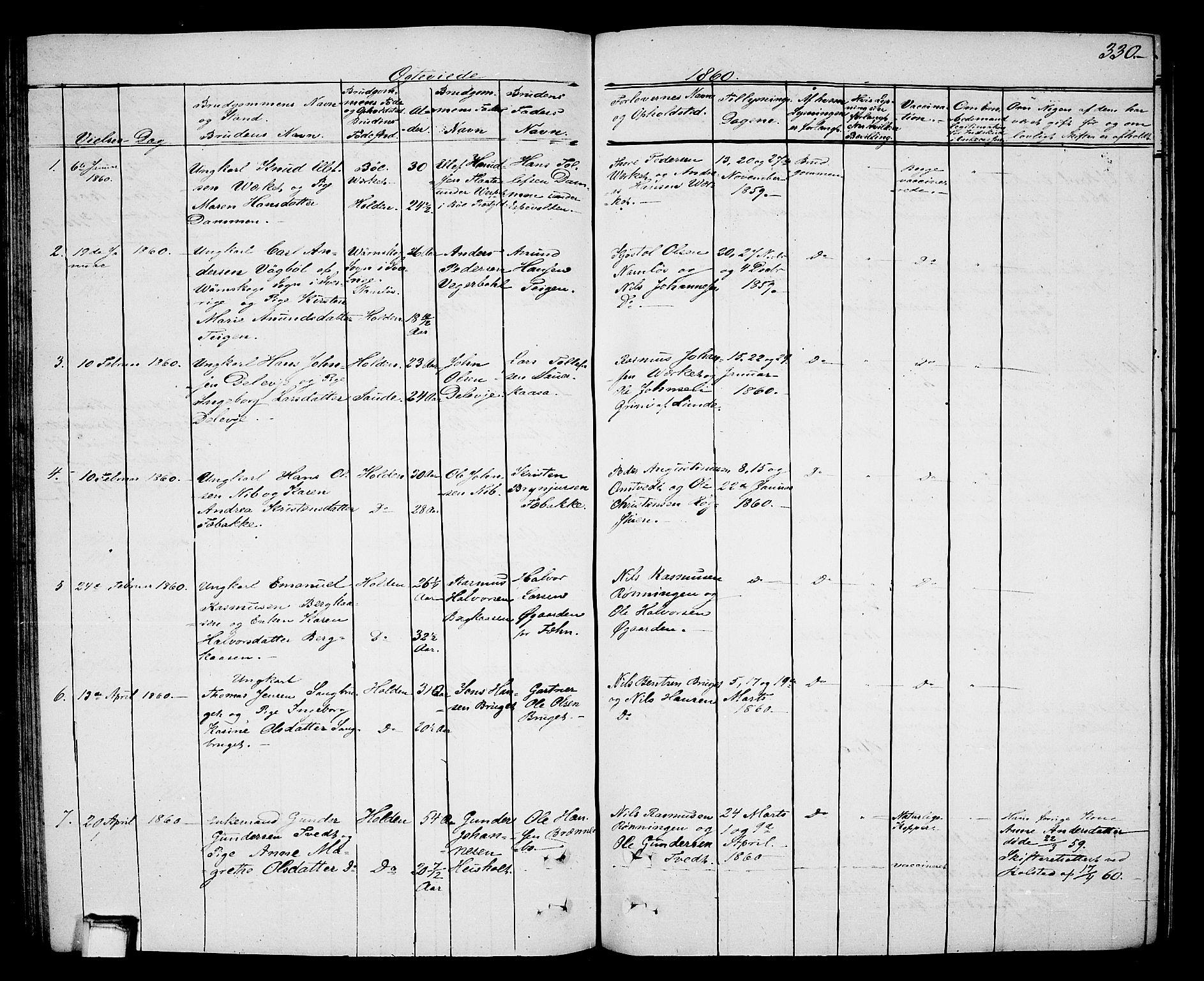 SAKO, Holla kirkebøker, G/Ga/L0003: Klokkerbok nr. I 3, 1849-1866, s. 330