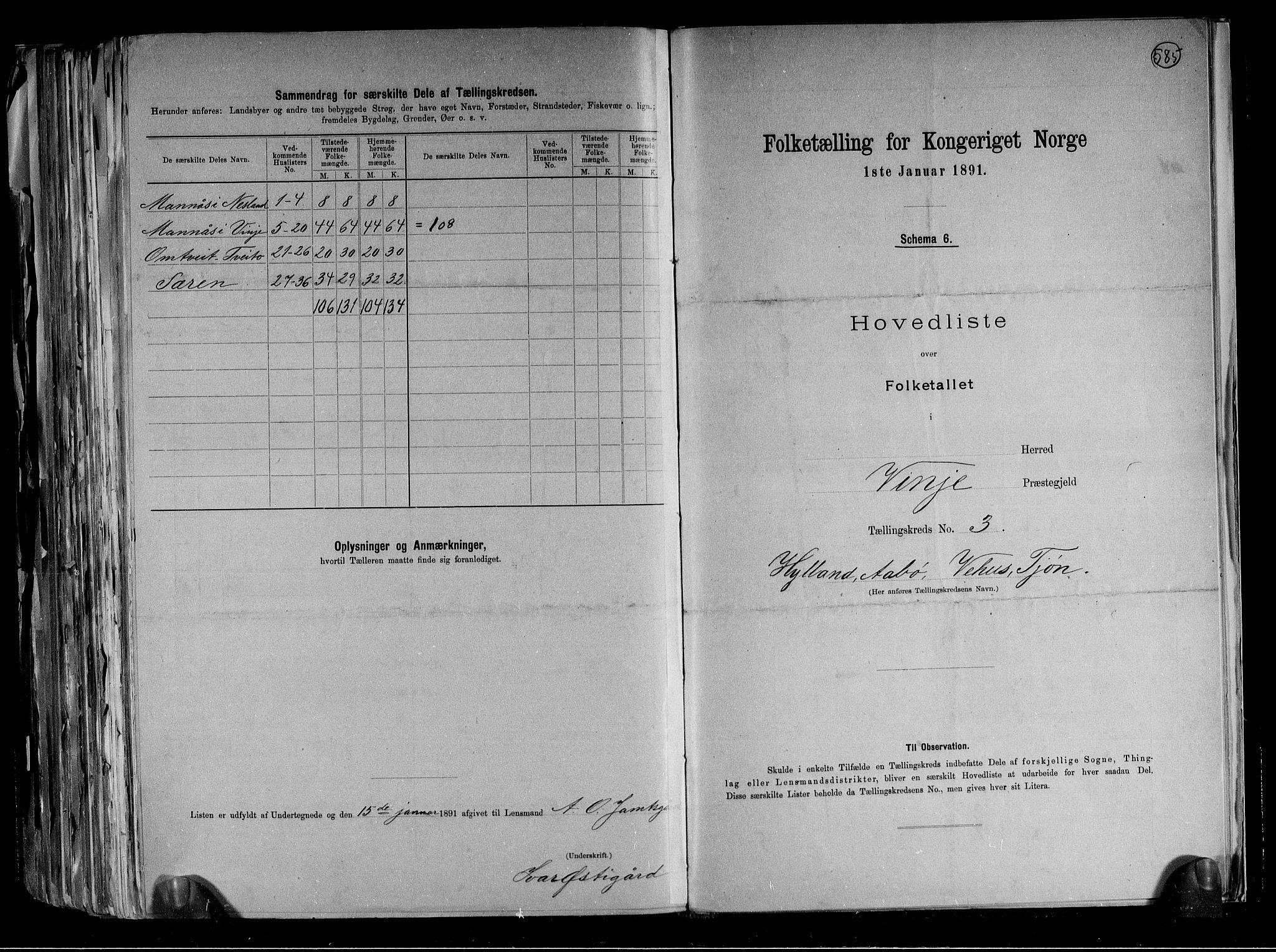 RA, Folketelling 1891 for 0834 Vinje herred, 1891, s. 8