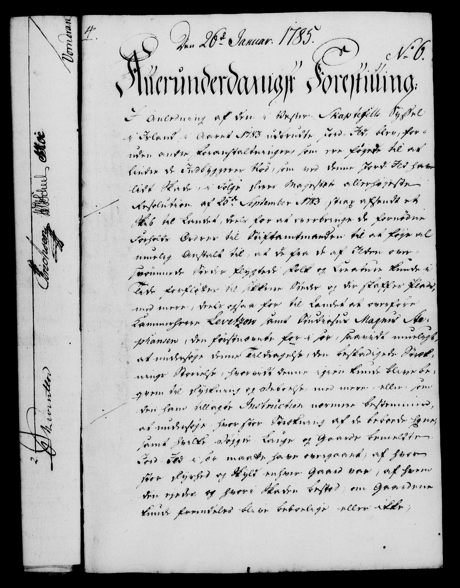 RA, Rentekammeret, Kammerkanselliet, G/Gf/Gfa/L0067: Norsk relasjons- og resolusjonsprotokoll (merket RK 52.67), 1785, s. 70