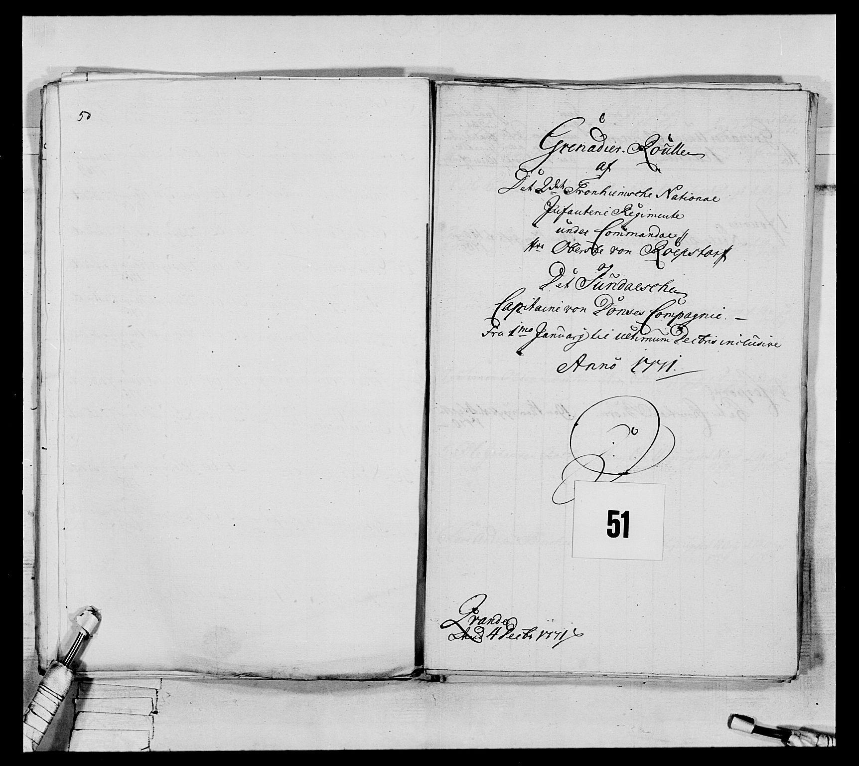 RA, Generalitets- og kommissariatskollegiet, Det kongelige norske kommissariatskollegium, E/Eh/L0076: 2. Trondheimske nasjonale infanteriregiment, 1766-1773, s. 169