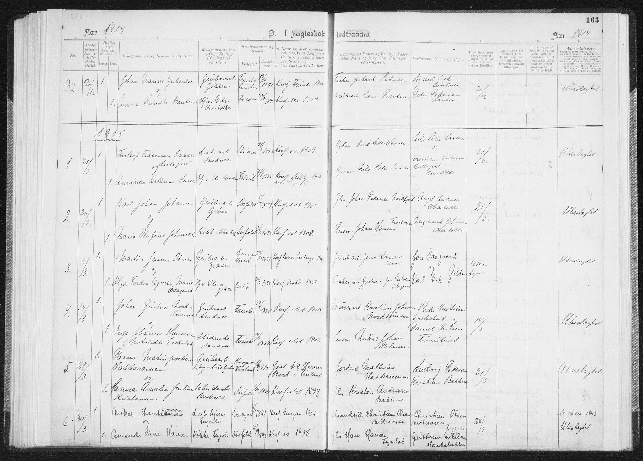 SAT, Ministerialprotokoller, klokkerbøker og fødselsregistre - Nordland, 850/L0711: Residerende kapellans bok nr. 850B01, 1902-1915, s. 163
